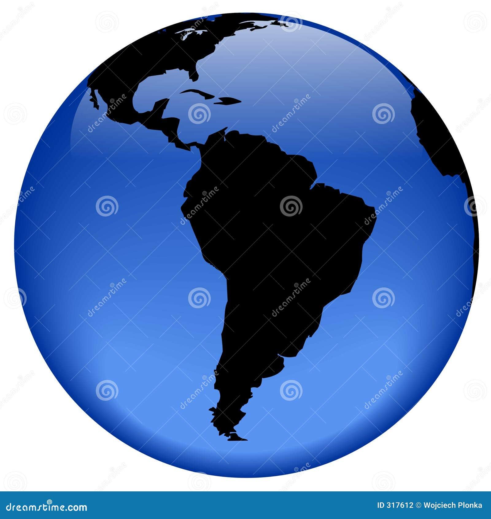 Ameryka globu wzrok na południe