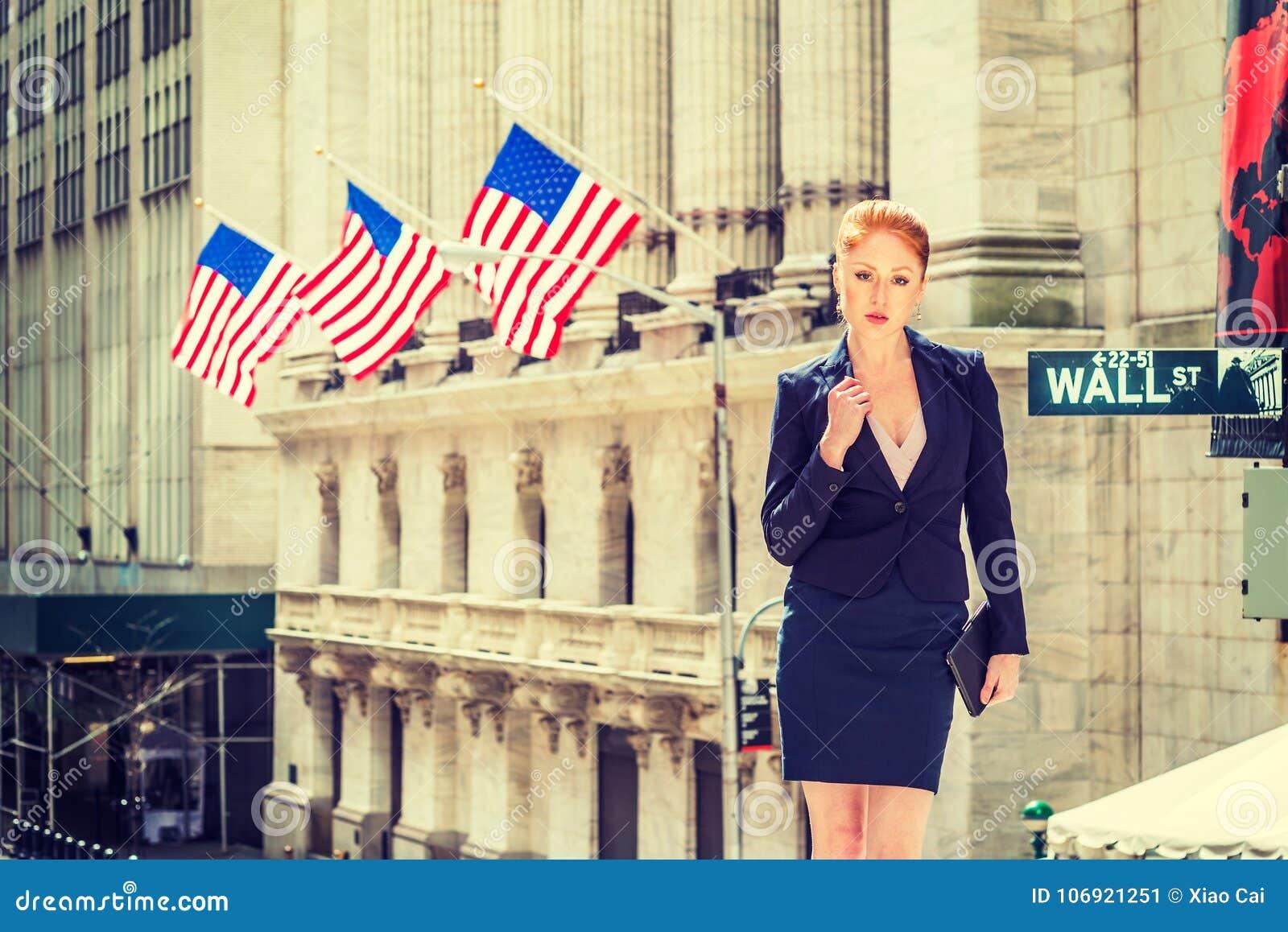 Amerykański bizneswoman pracuje w Nowy Jork