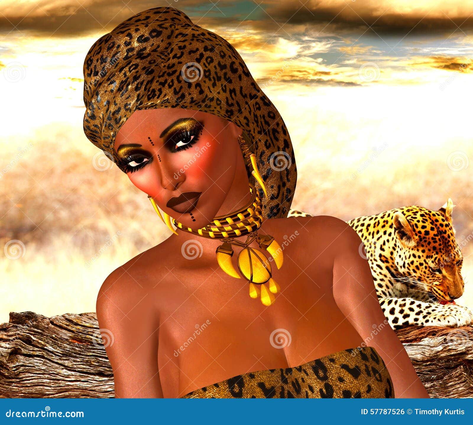 Amerykanin Afrykańskiego Pochodzenia kobieta w lamparta druku modzie z Pięknymi kosmetykami i Kierowniczym szalikiem