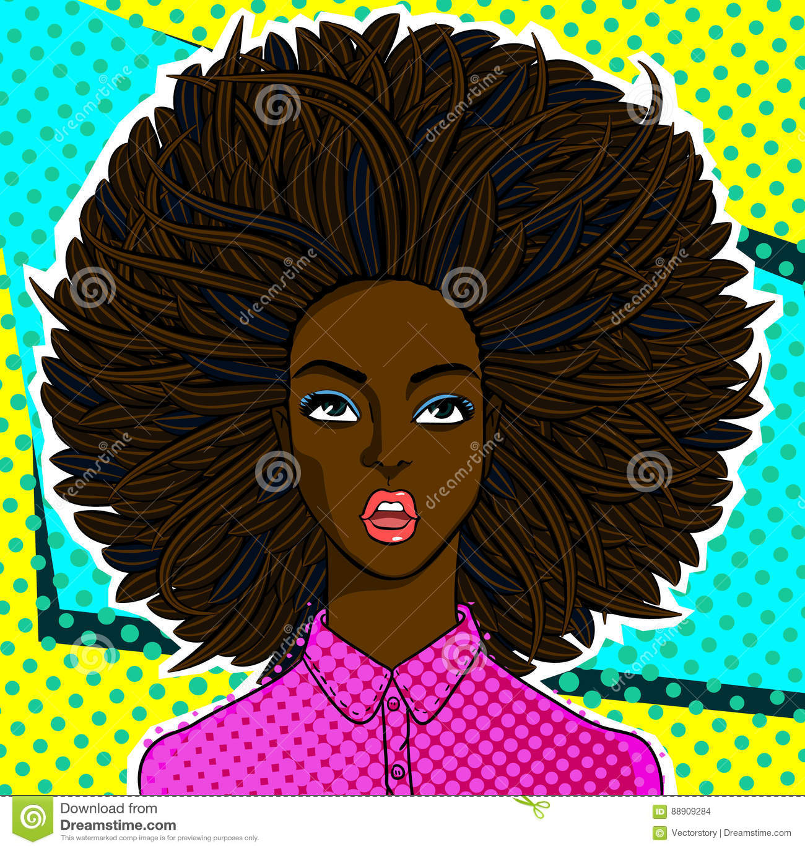 Amerykanin afrykańskiego pochodzenia kobiety twarz w wystrzał sztuki stylu