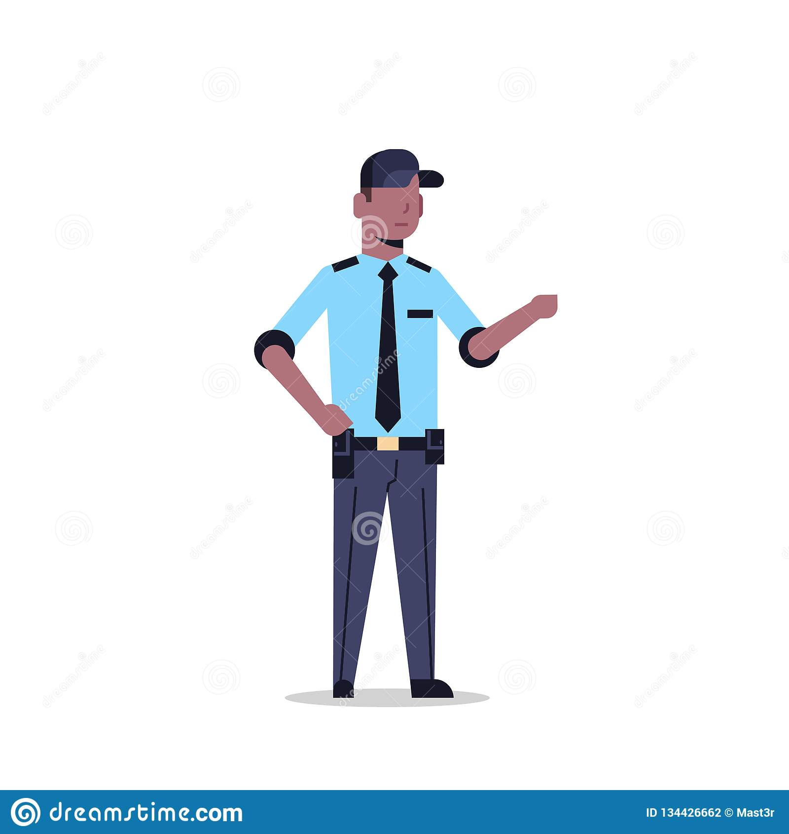 Amerykanin afrykańskiego pochodzenia pracownika ochronego mężczyzna w jednolitym punkcie coś funkcjonariusz policji męska postać