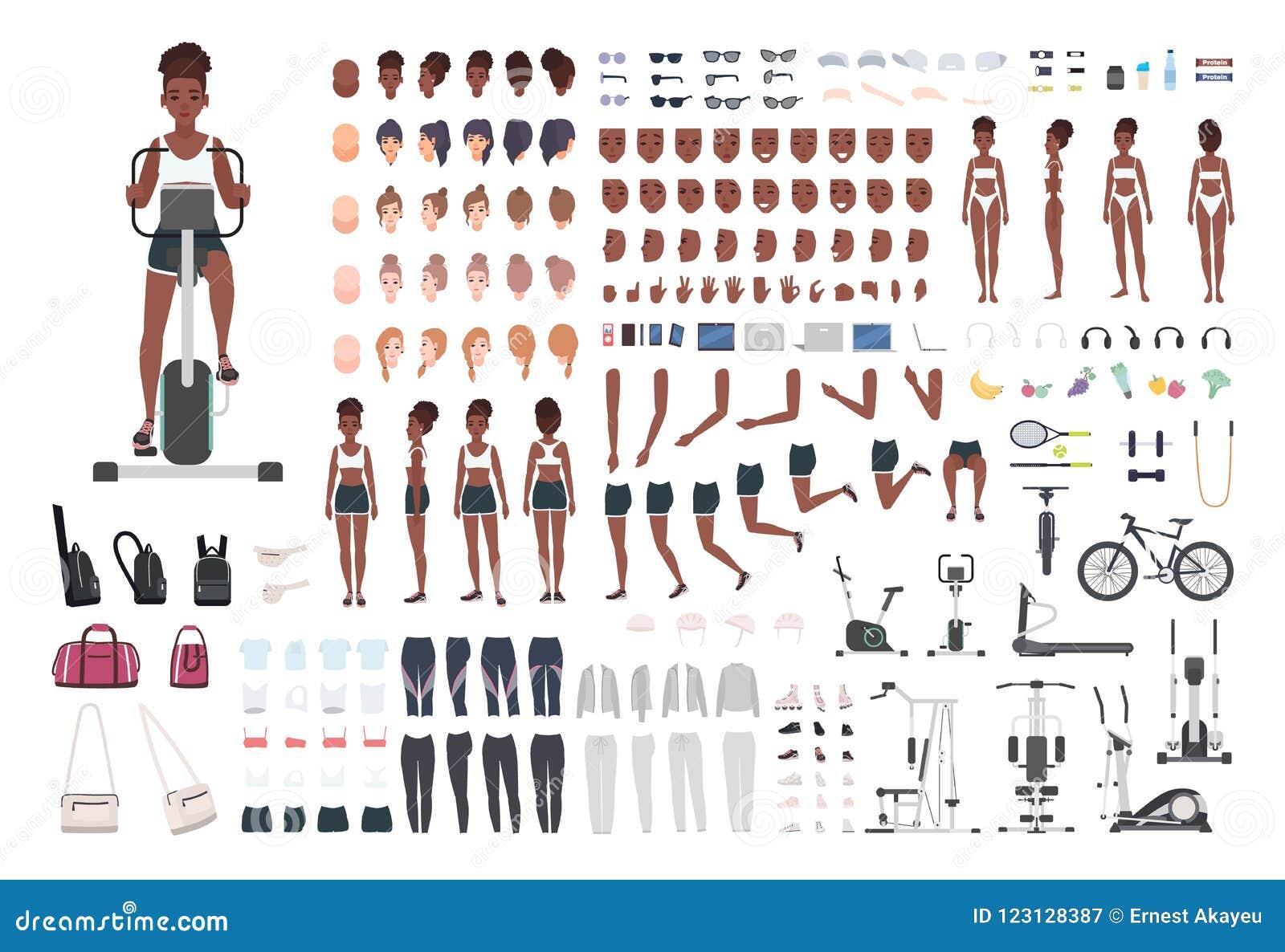 Amerykanin Afrykańskiego Pochodzenia sportsmenka, żeńska atleta DIY lub animacja zestaw Set szczupłe dziewczyny ` s części ciała,