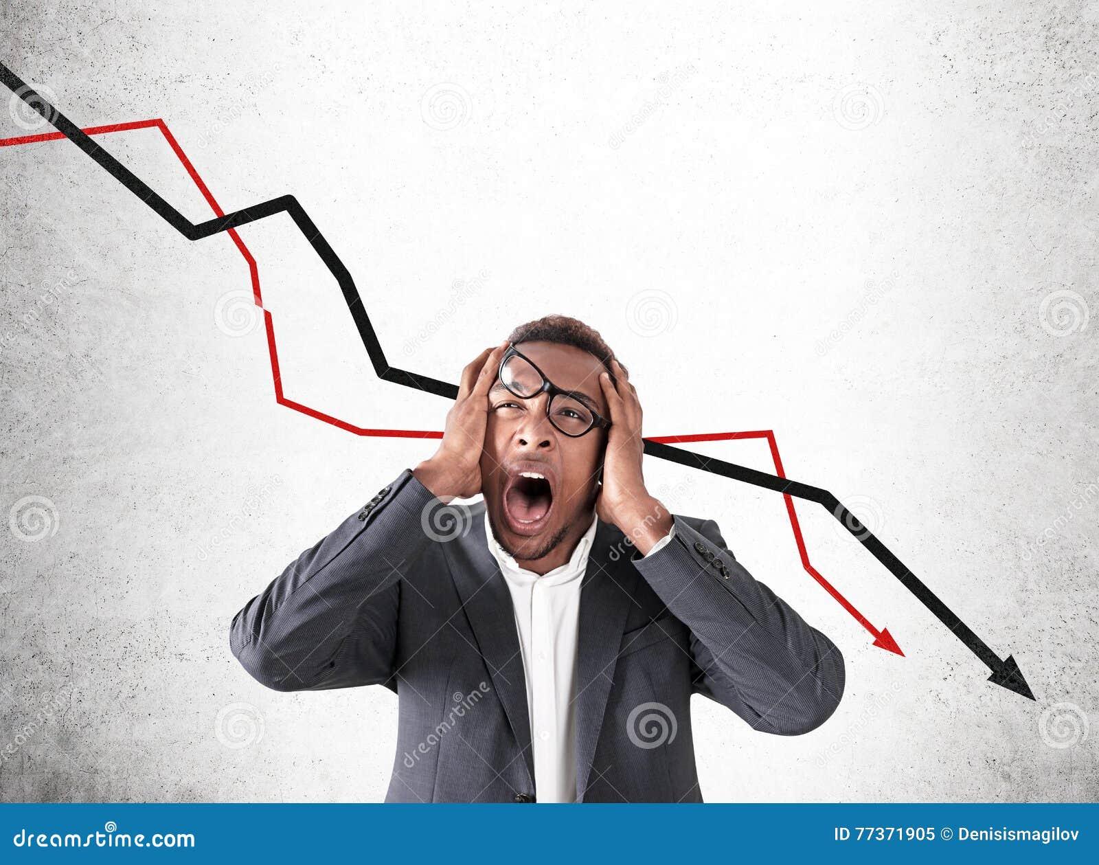 Amerykanina Afrykańskiego Pochodzenia mężczyzna i rynku papierów wartościowych niepowodzenie