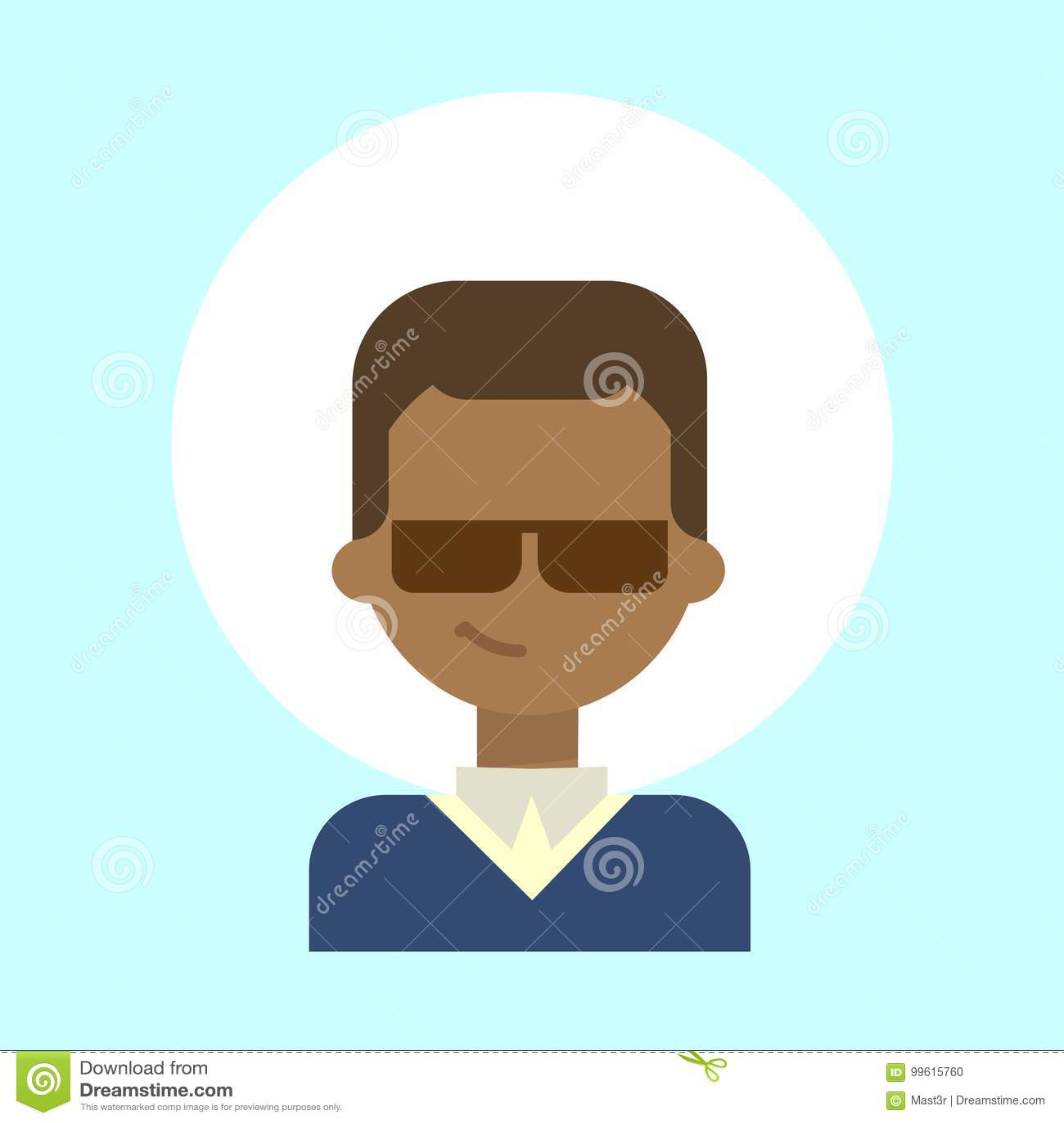 Amerykanina Afrykańskiego Pochodzenia słońca szkieł emoci profilu Męska Jest ubranym ikona, mężczyzna kreskówki portreta Szczęśli