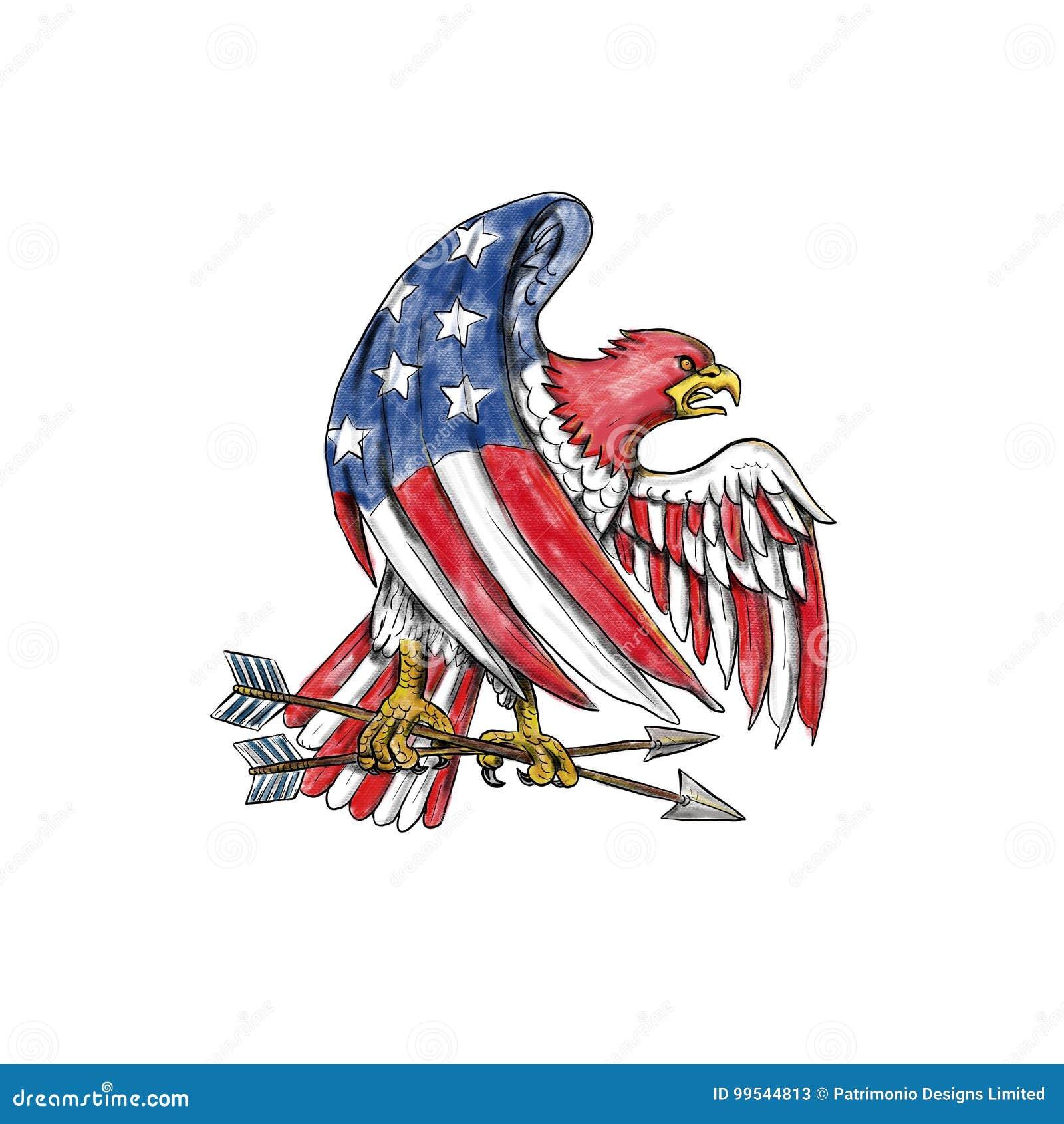 Amerykanina Eagle Lampasów I Gwiazd Flaga Tatuaż Ilustracji