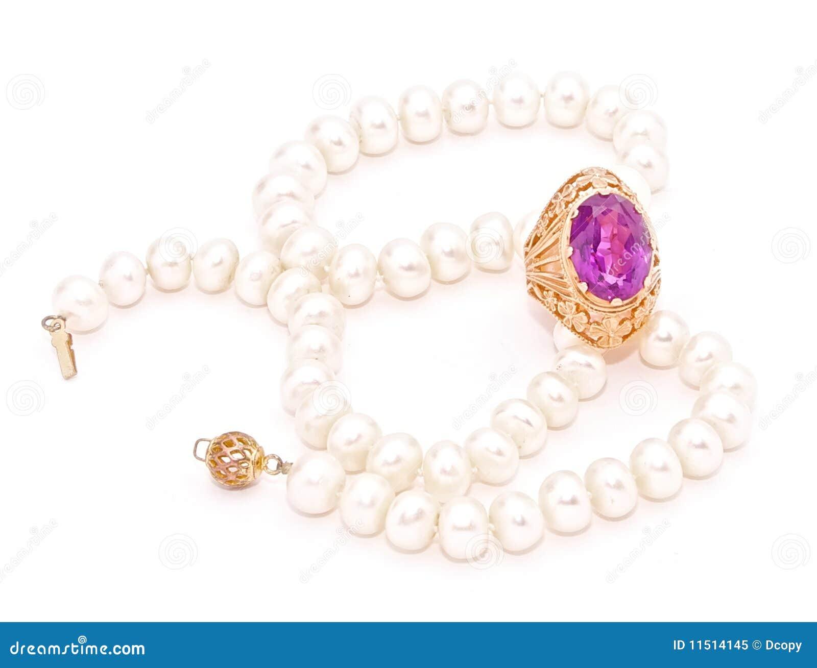 Amethyst античное золото pearls сбор винограда кольца