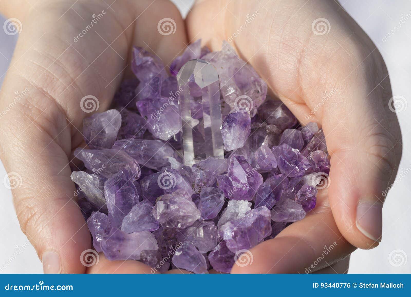 Amethyst Pieces in hands