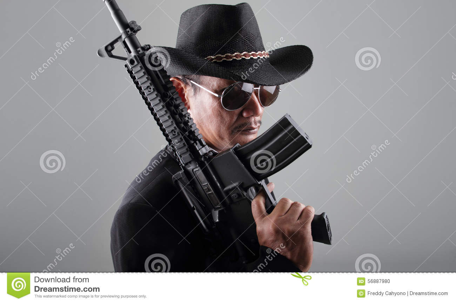 Ametralladora vieja del gangter