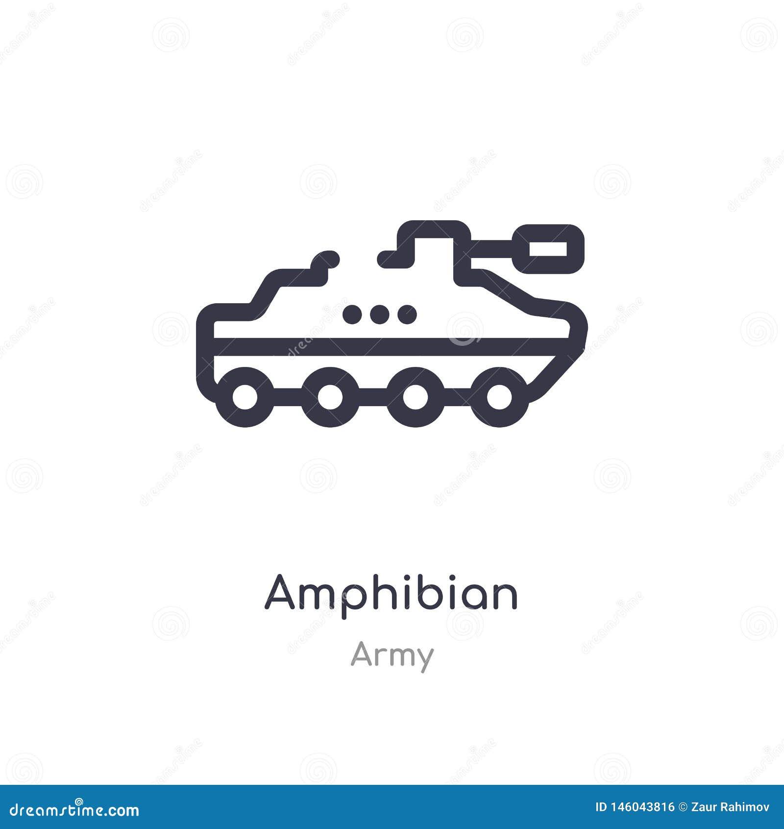 Amfibieoverzichtspictogram ge?soleerde lijn vectorillustratie van legerinzameling editable dun slag amfibiepictogram op wit