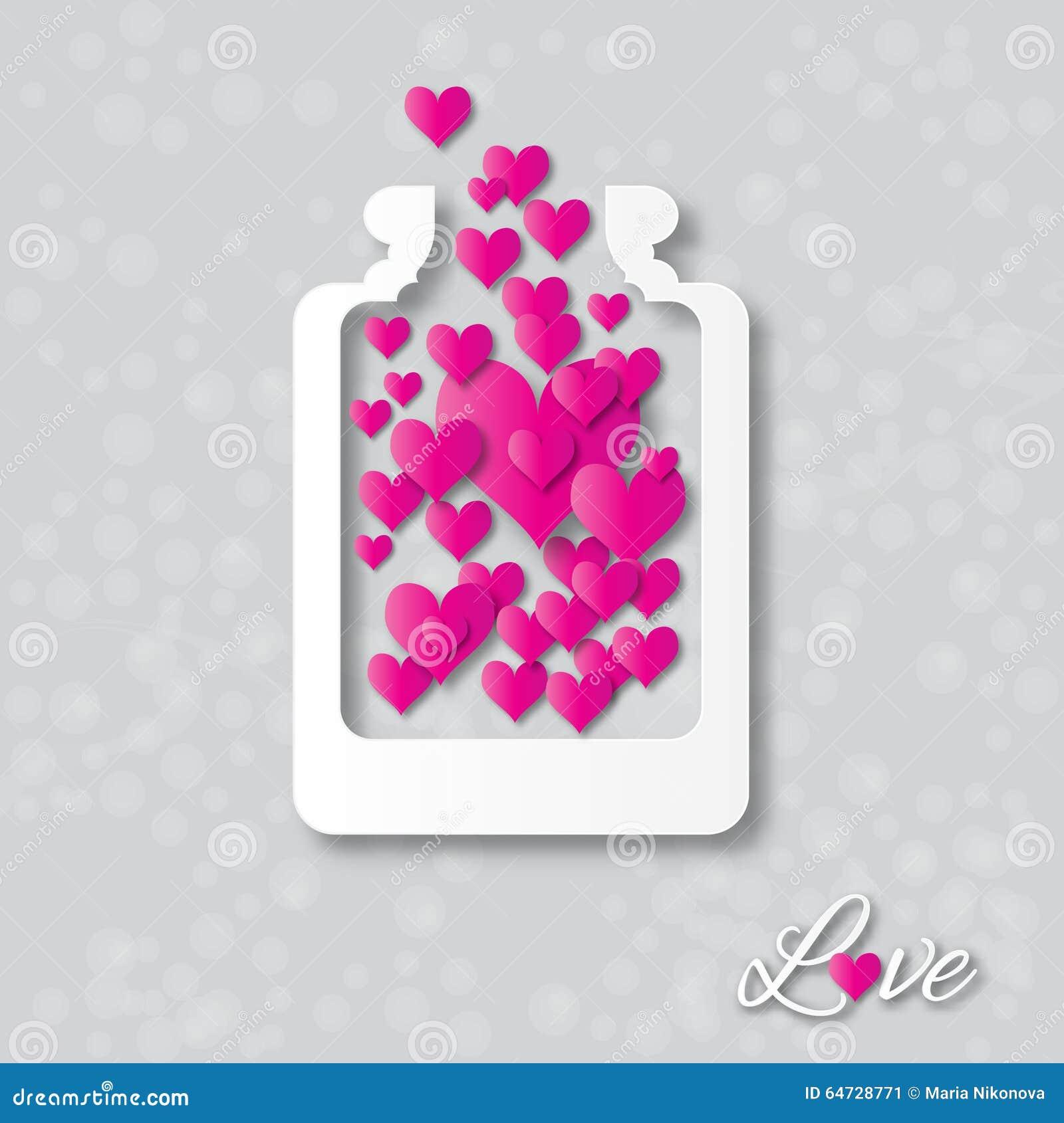Ami il barattolo della bottiglia con i cuori dentro per il giorno di biglietti di S. Valentino