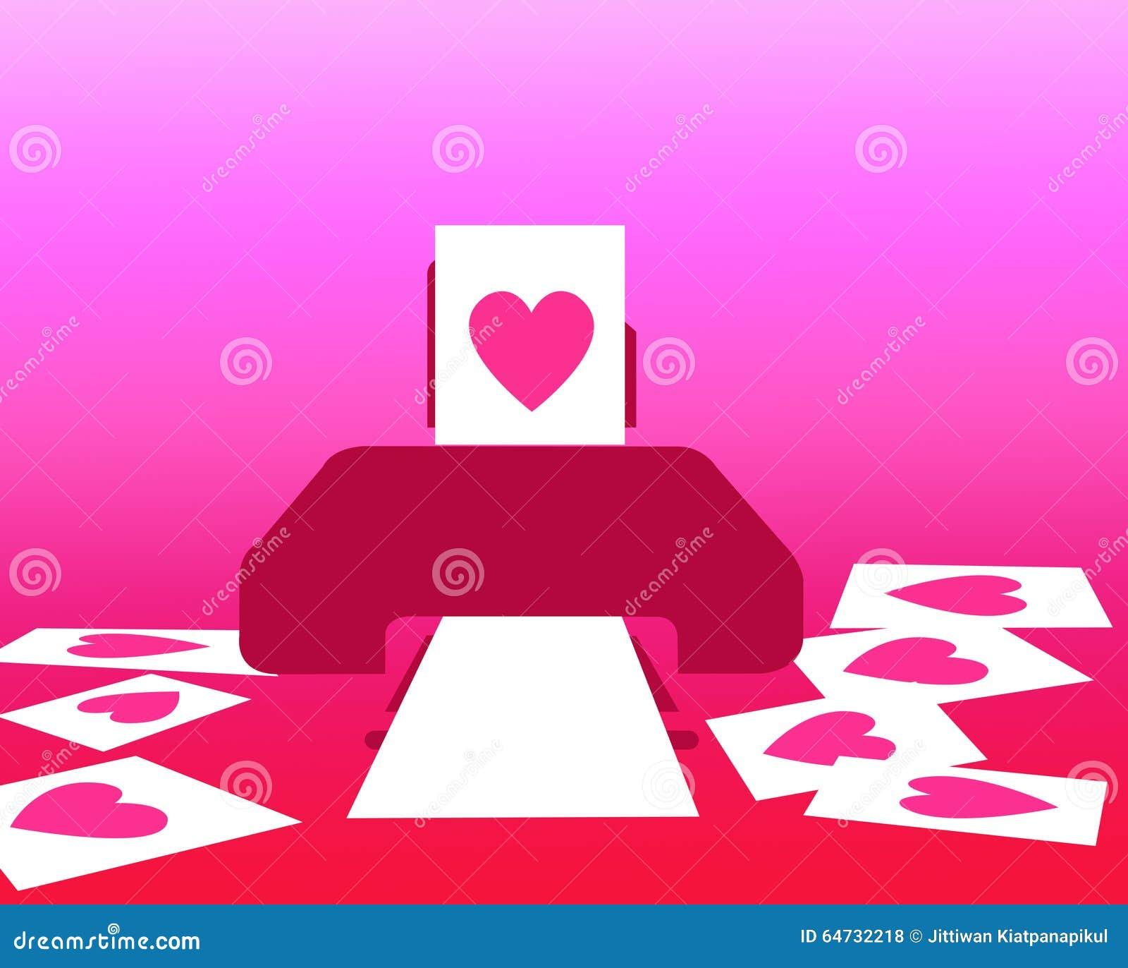 Ami il concetto sul San Valentino dalla carta rosa stampata del cuore dalla stampante