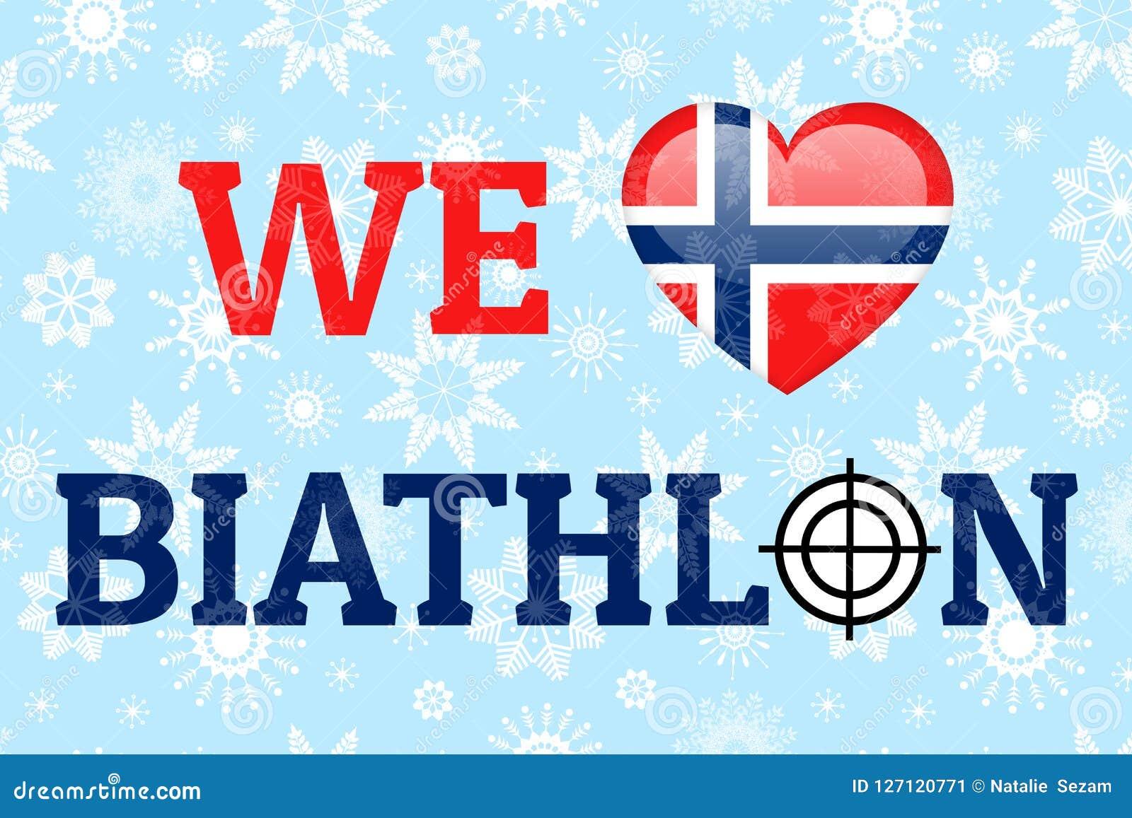 Amiamo il manifesto di vettore di biathlon Bandiera nazionale della Norvegia Simbolo del cuore nei colori norvegesi tradizionali