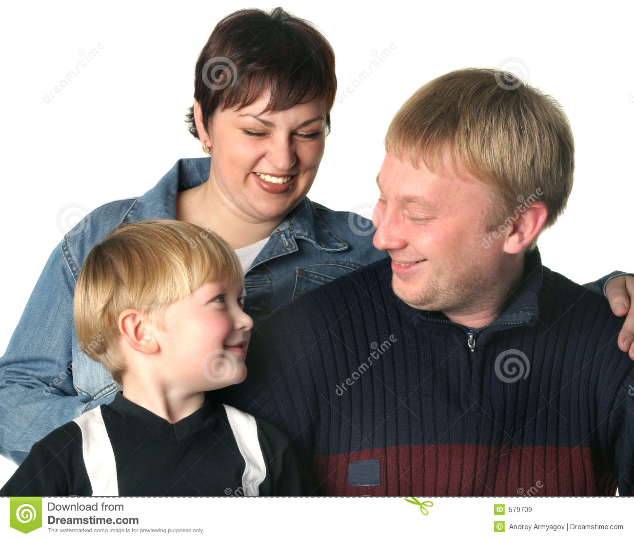 Amicable family. Mum the daddy and the son.