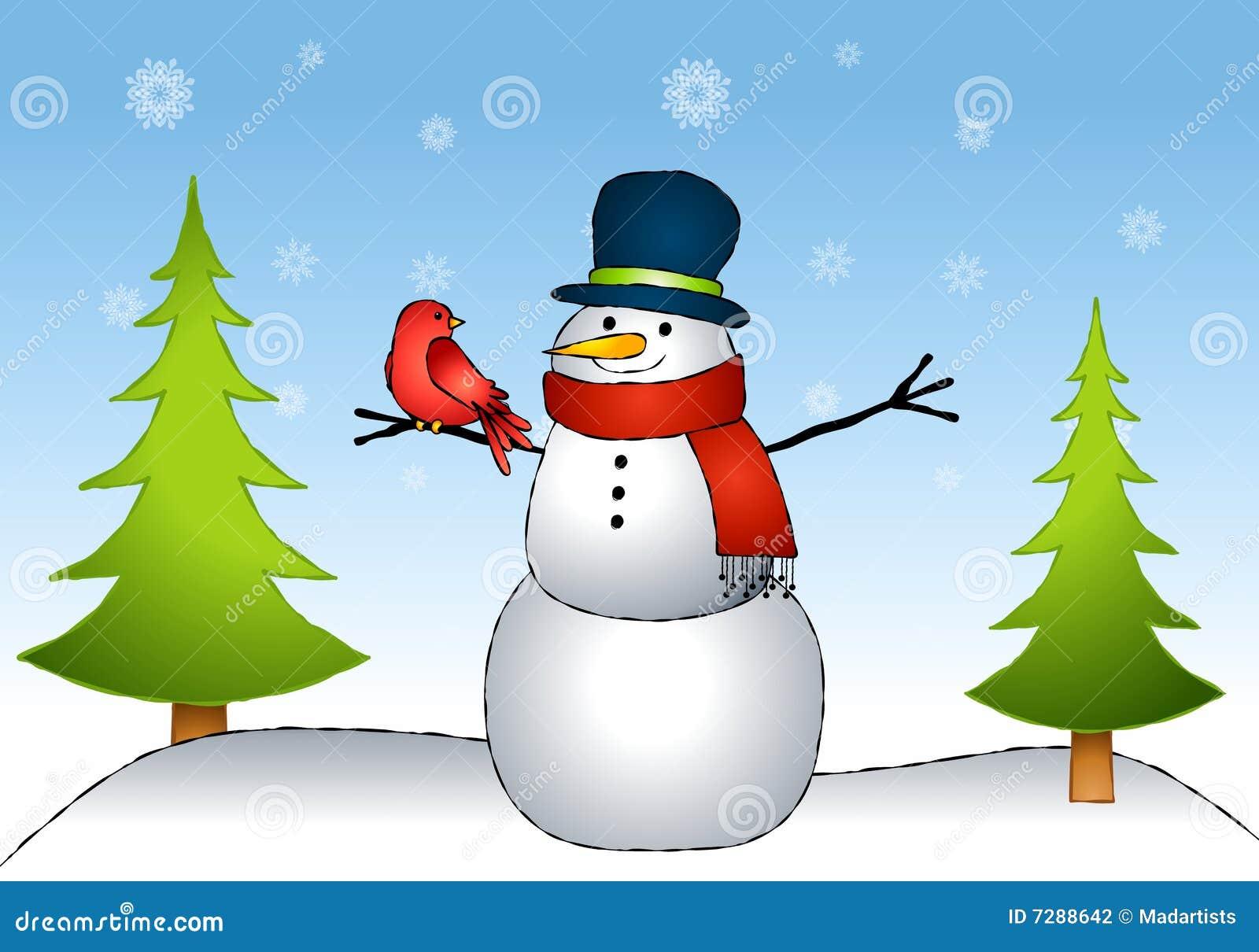Amigos del pájaro del muñeco de nieve