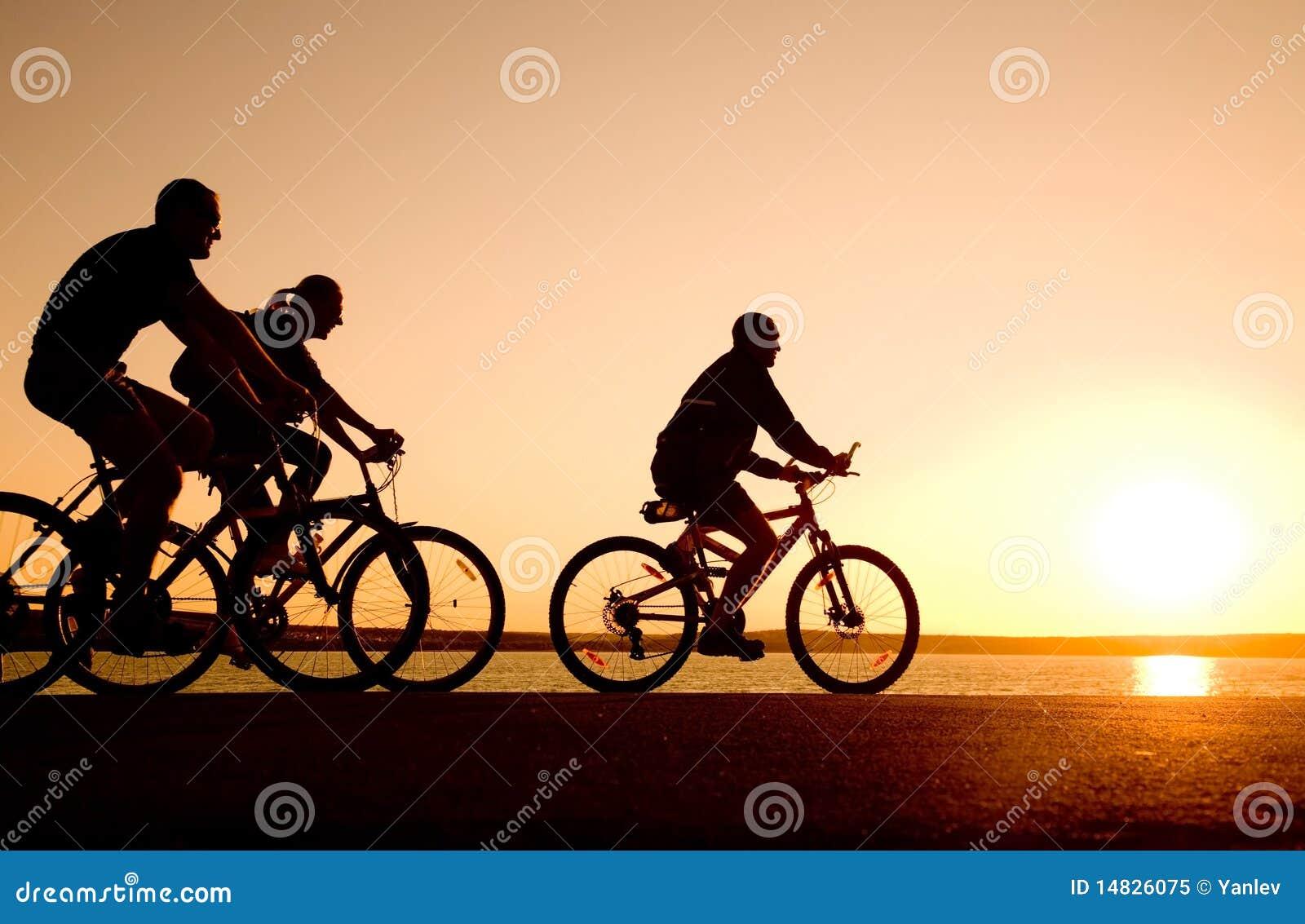 Amigos em bicicletas