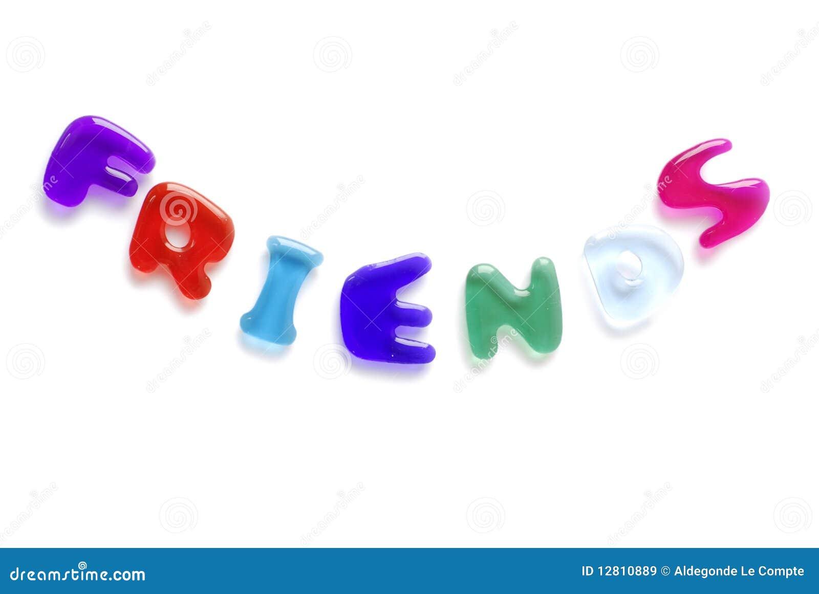 Amigos escritos em letras da geléia