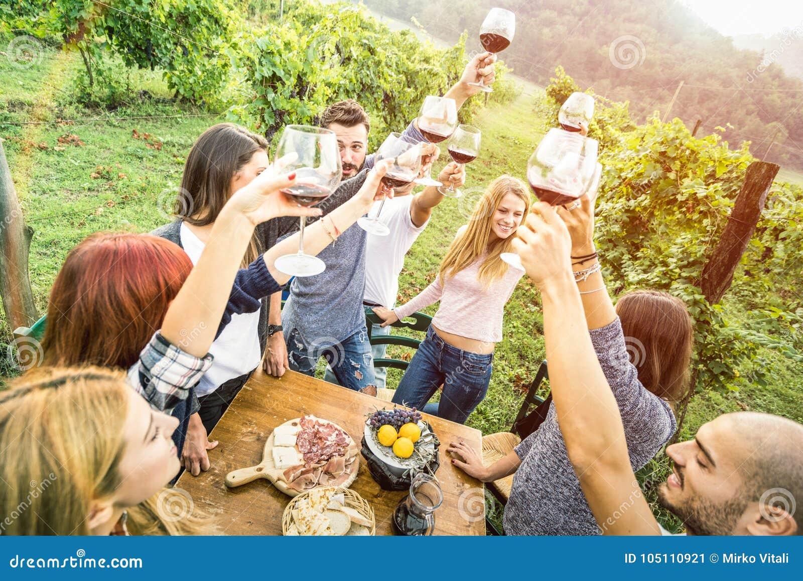 Amigos jovenes que se divierten al aire libre que bebe el vino rojo en el lagar del viñedo