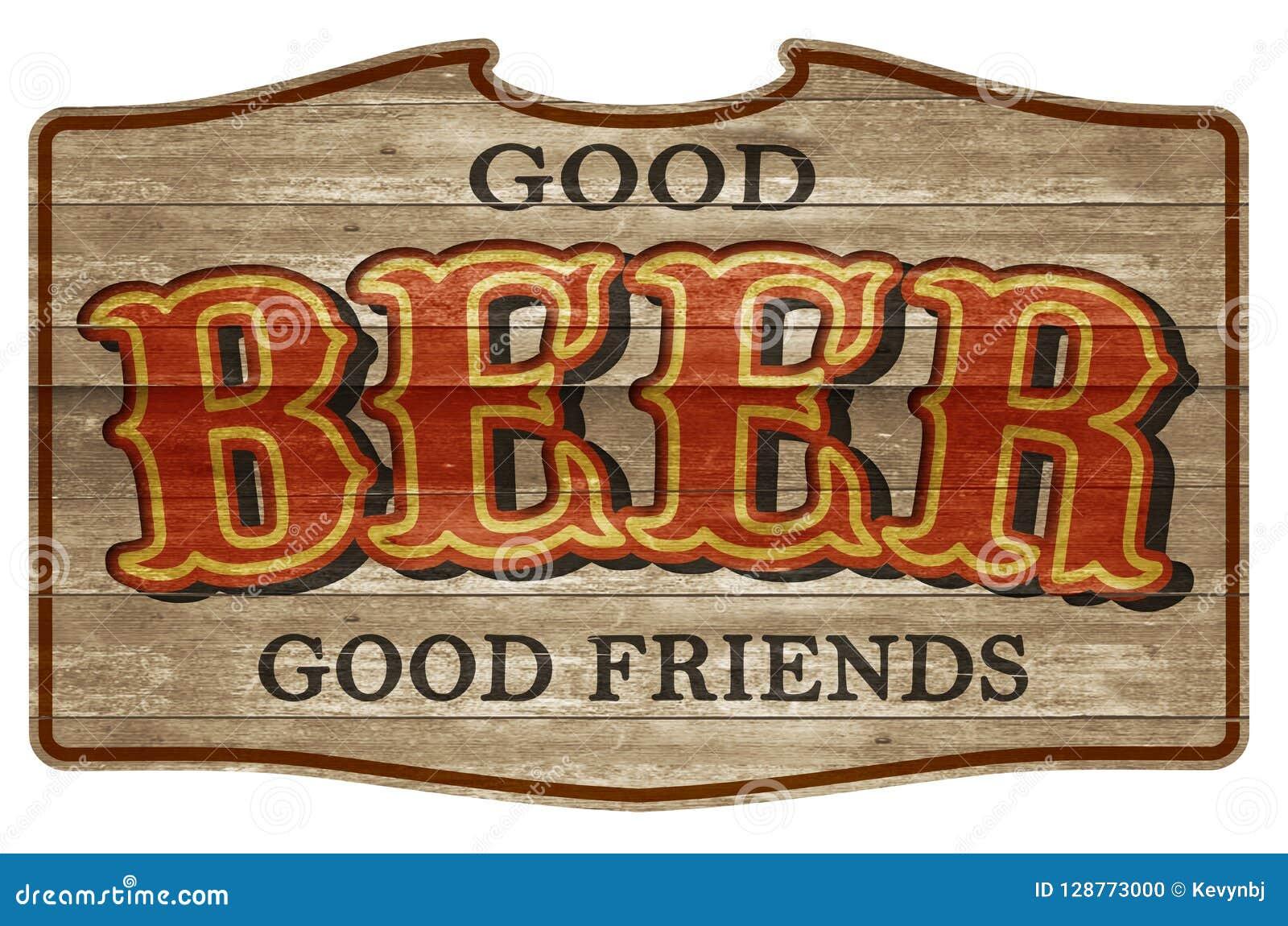 Amigos occidentales de la placa de madera de la muestra de la cerveza viejos