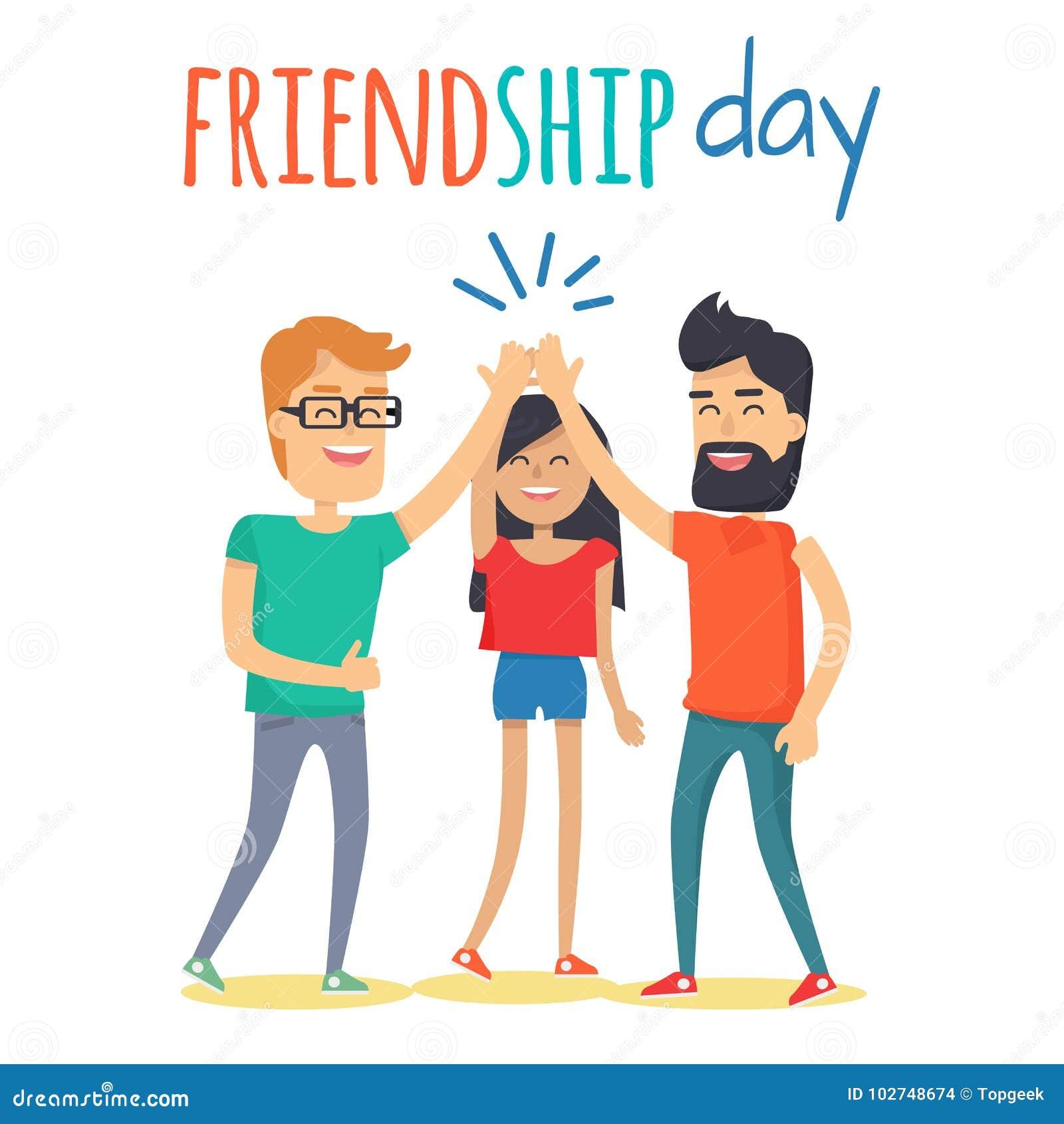 Amis célébrant le concept de vecteur de jour d amitié