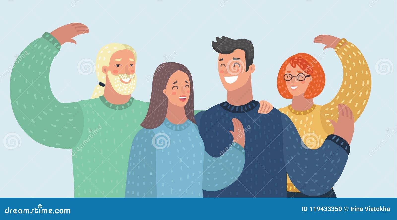 Amis de groupe d avatars de personnes