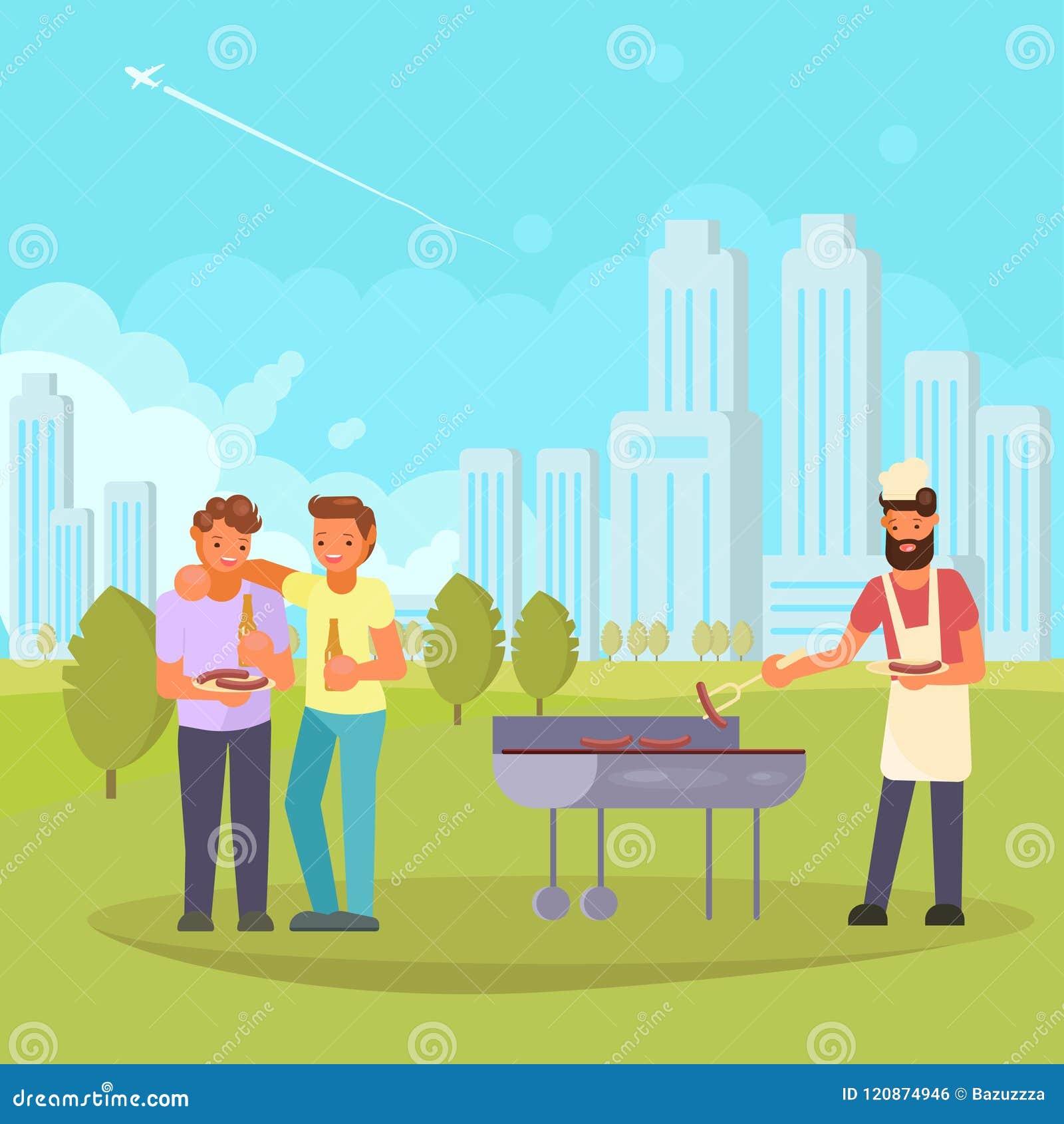 Amis sur l illustration plate de vecteur de BBQ