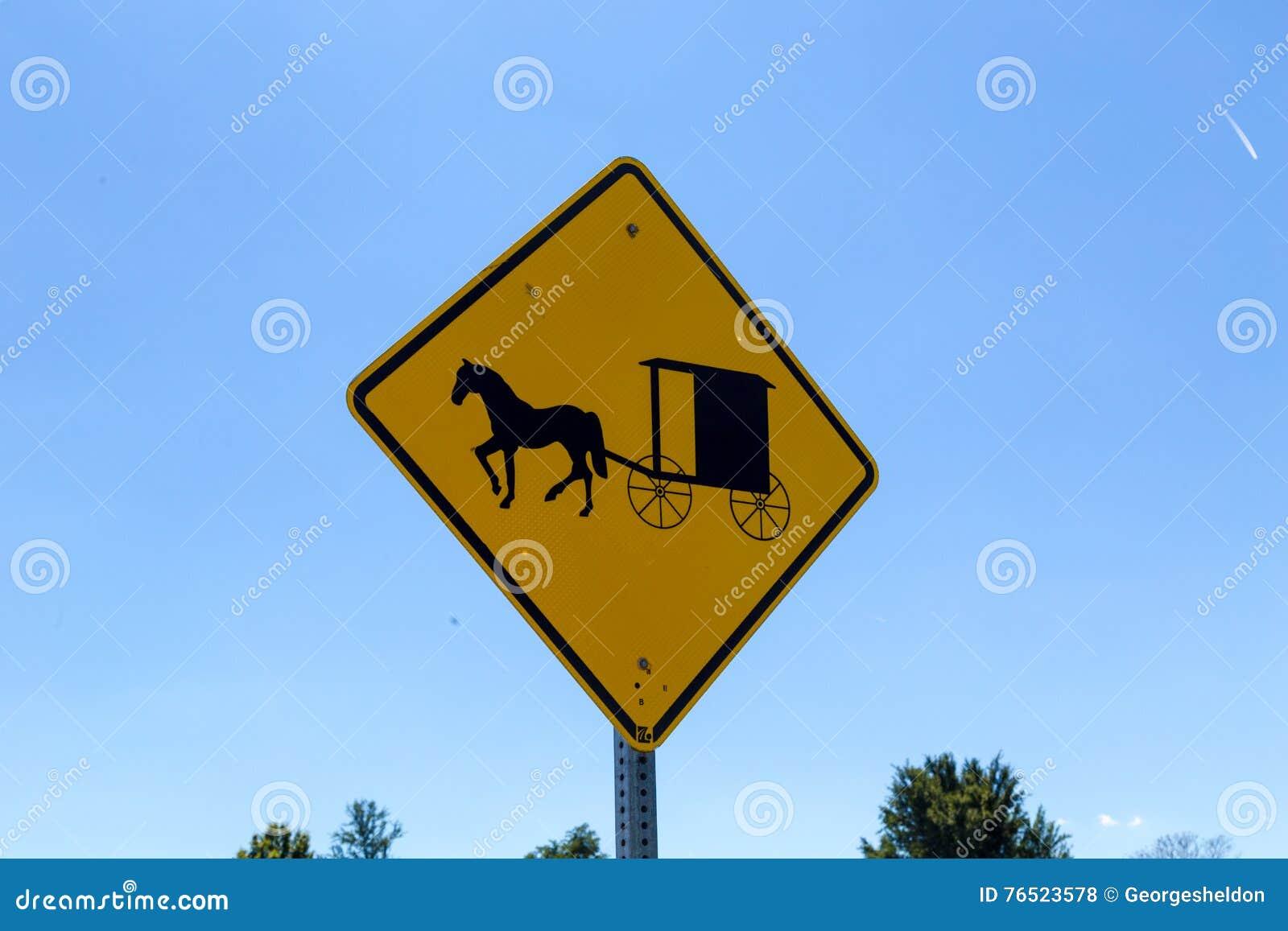 Amish buggies hazard sign stock photo  Image of highway