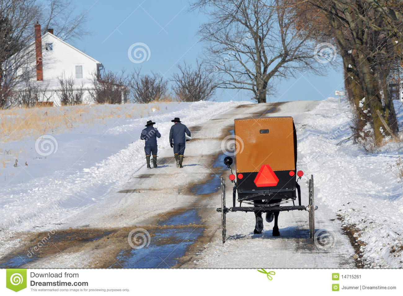 Amish Walk Stock Image Image 14715261