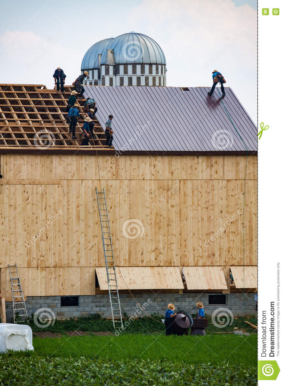 Amish Work on Barn Roof