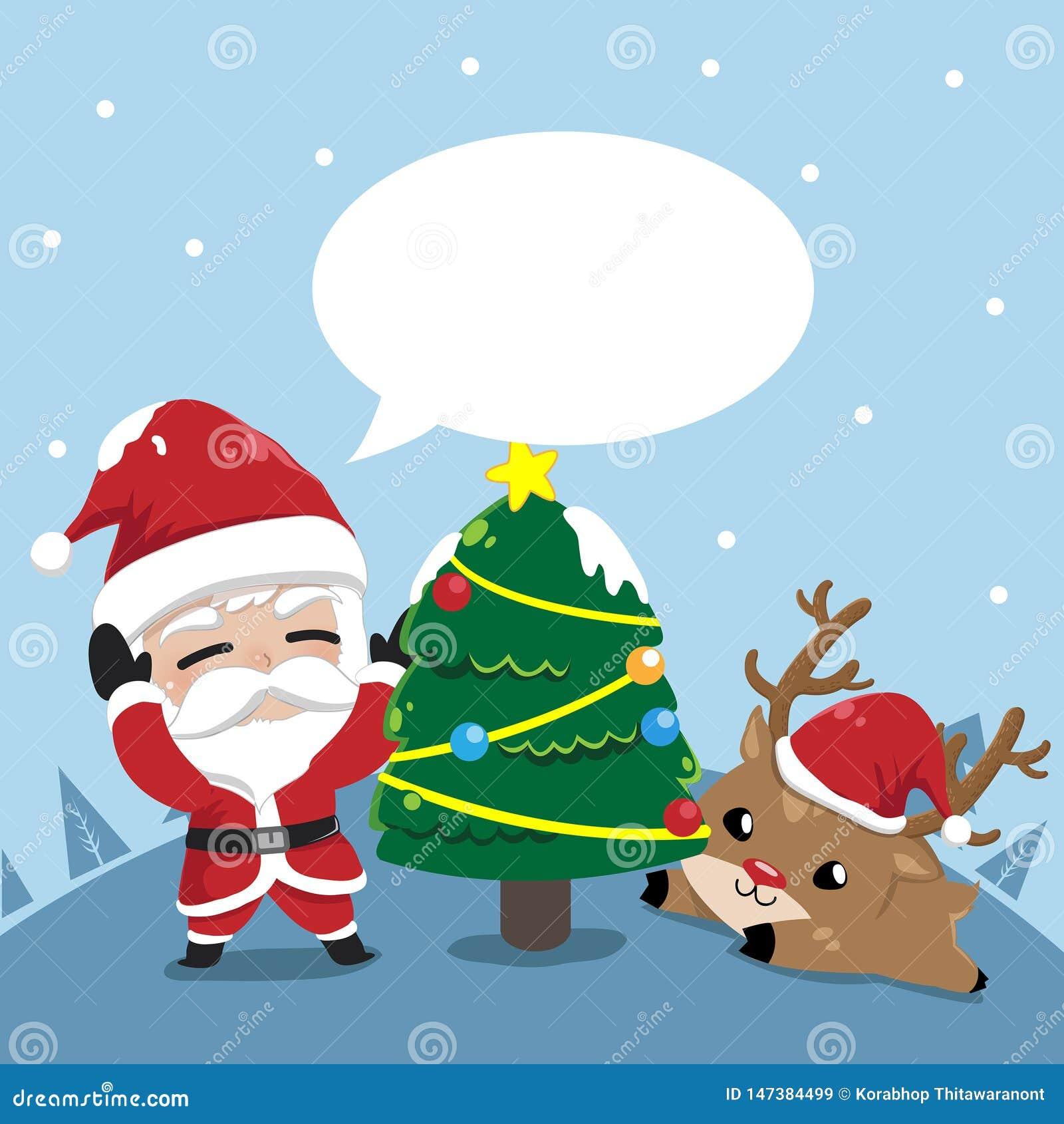 Amistad Papá Noel y pequeños ciervos en la Navidad