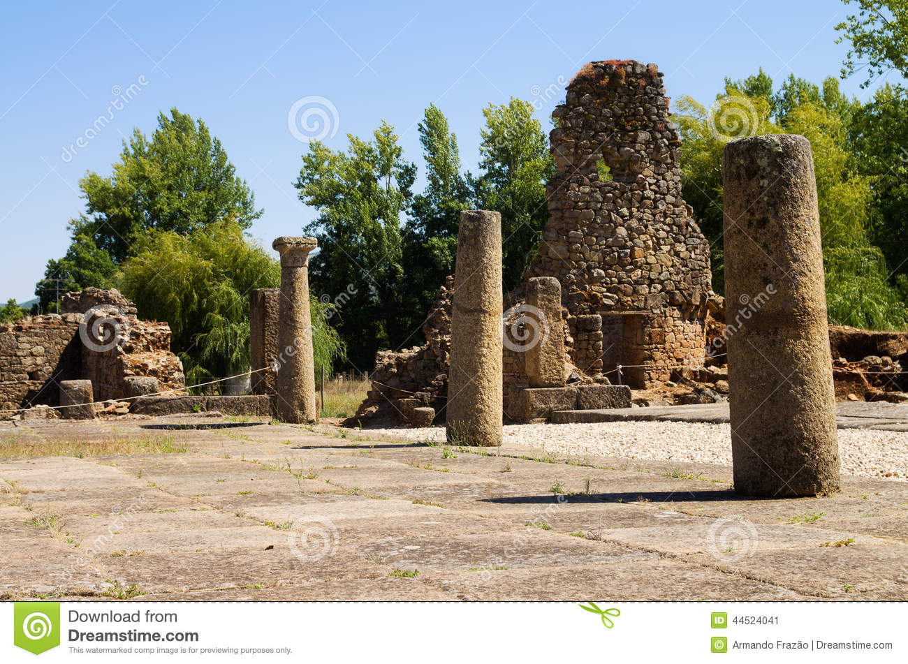 Closeup on the South gate tower ruins of roman city of Ammaia. Columns ...