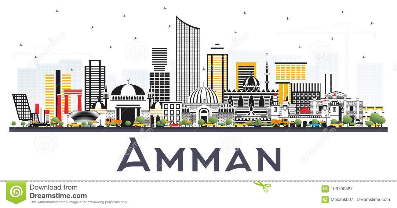 8fefac400fd7 Amman Jordan City Skyline With Color Buildings Isolated On White ...