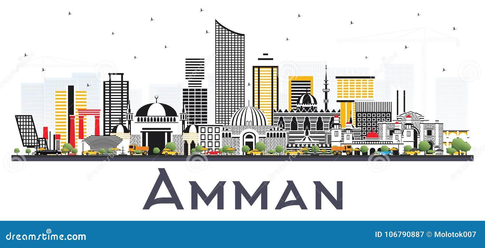 8fefac400fd7 Amman Jordan City Skyline With Color Buildings Isolated On White ...