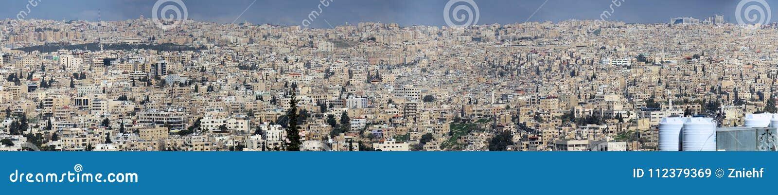 Amman, Jordanie, le 11 mars h 2018 : Vue panoramique de haute résolution du développement pas très gentil d Amman, la capitale du