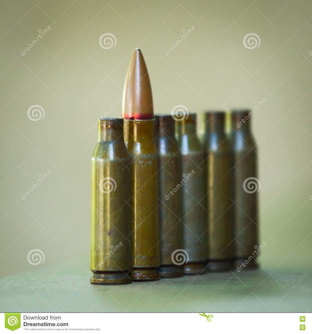 Ammo With And Without Bullets Stock Image - Image of strength