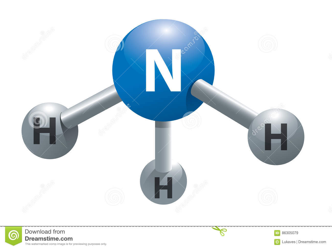 Ammonia Molecule Stock Vector Illustration Of Chemistry 86305079
