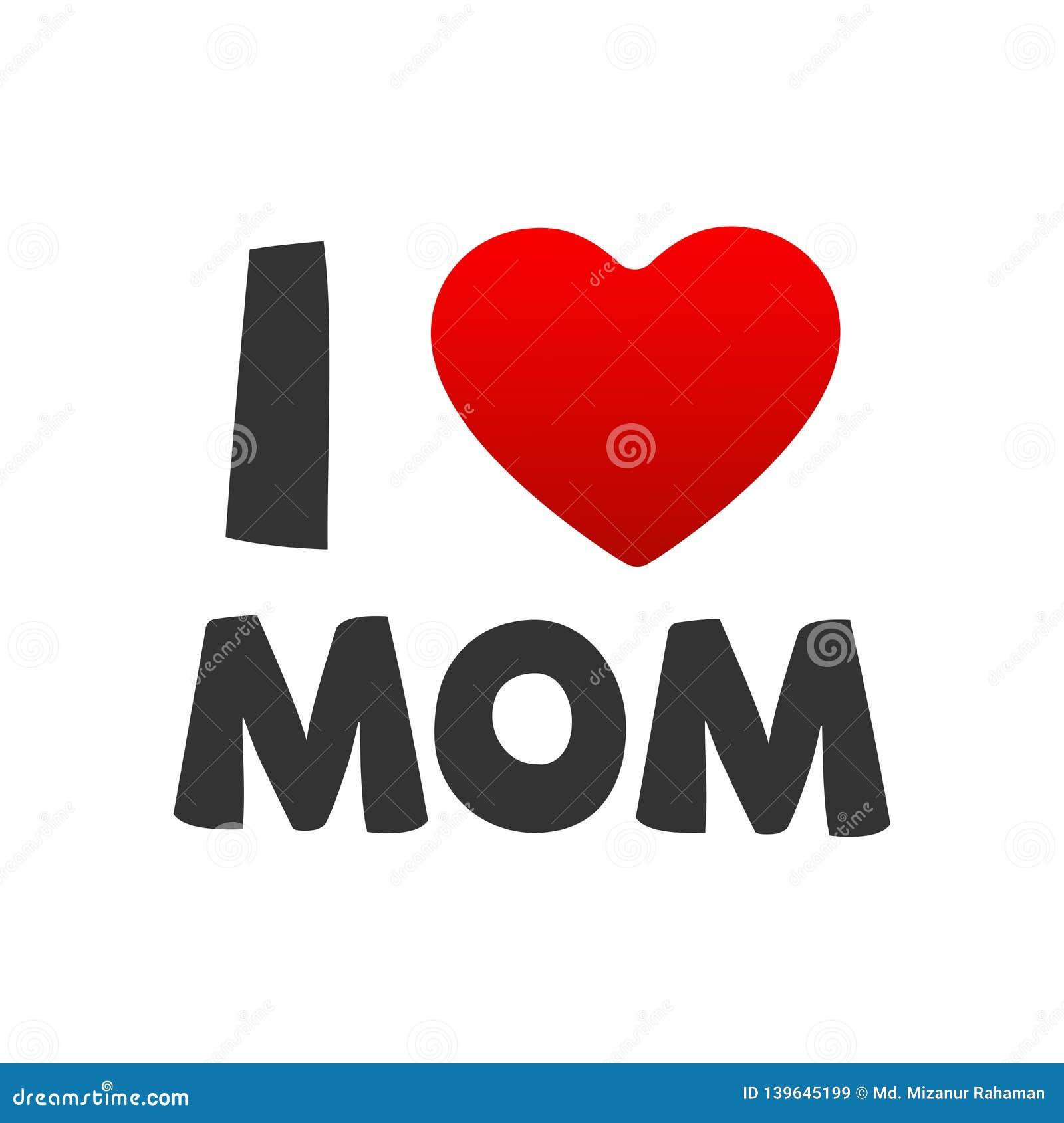 Amo el ejemplo del vector de la mamá con el corazón rojo para el día de madres