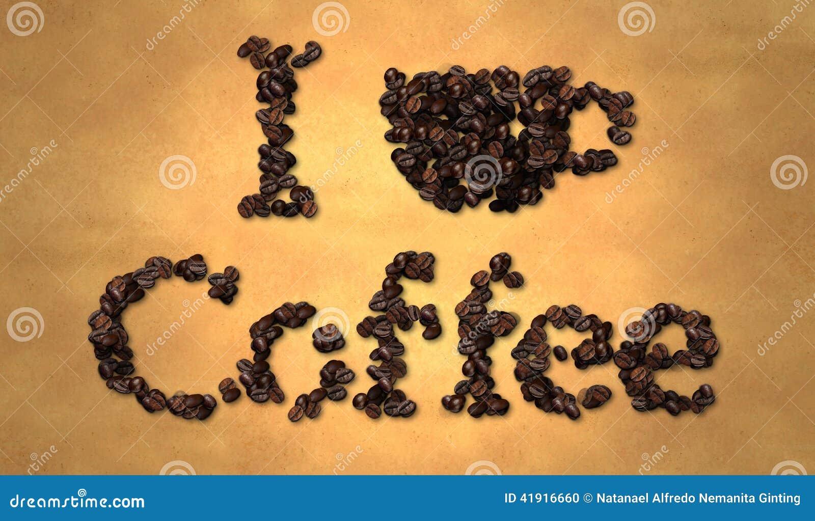Amo el grano de café en el papel viejo
