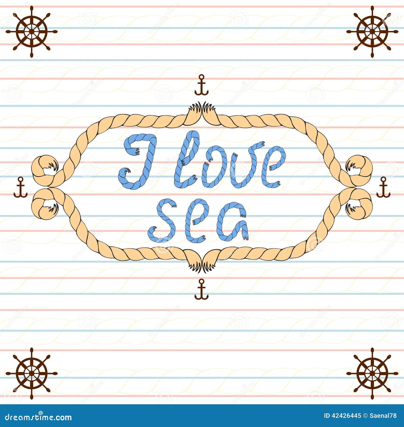 Amo el mar Cartel náutico de la tipografía