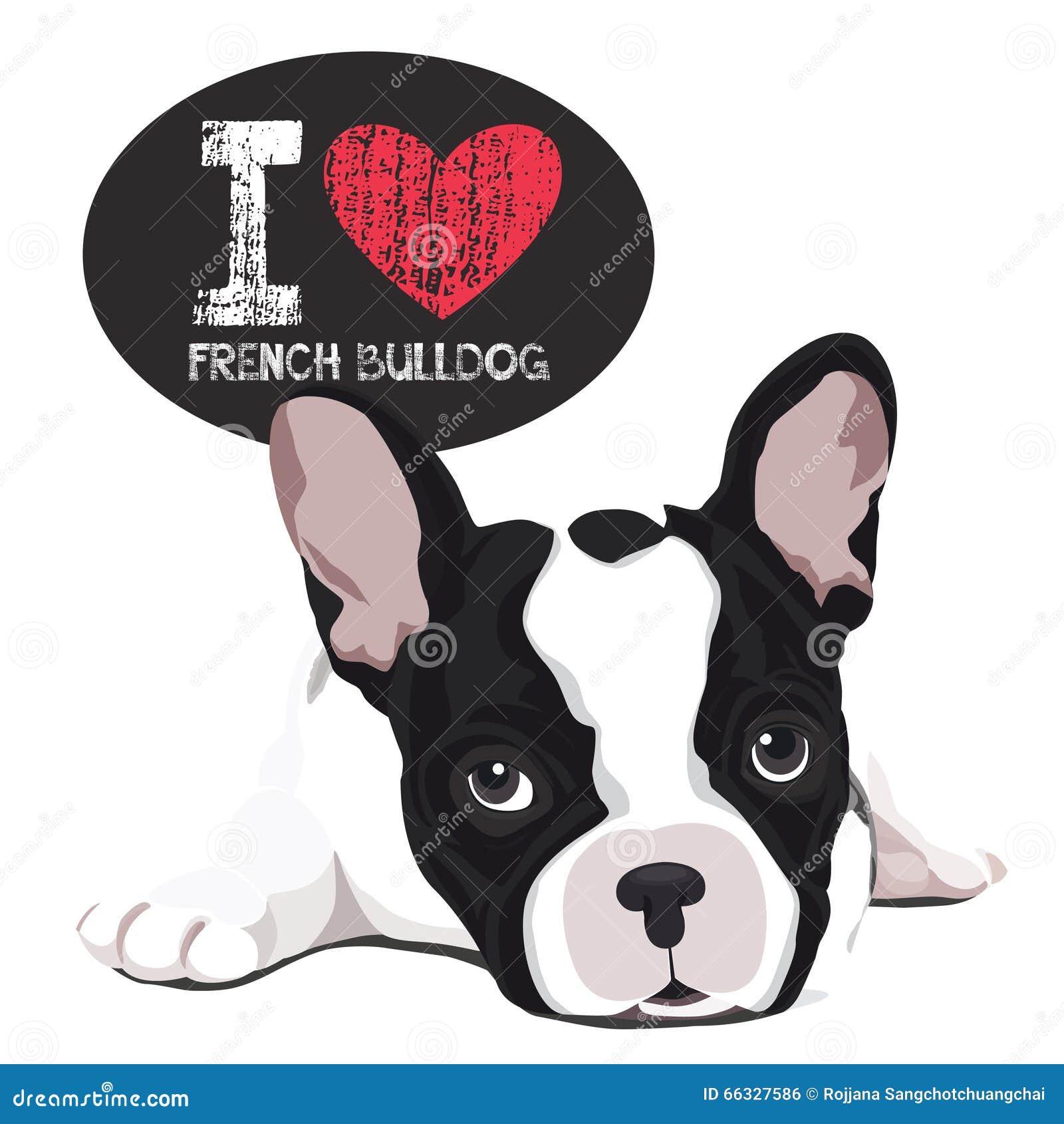 Amo Il Bulldog Francese Illustrazione Vettoriale Illustrazione Di