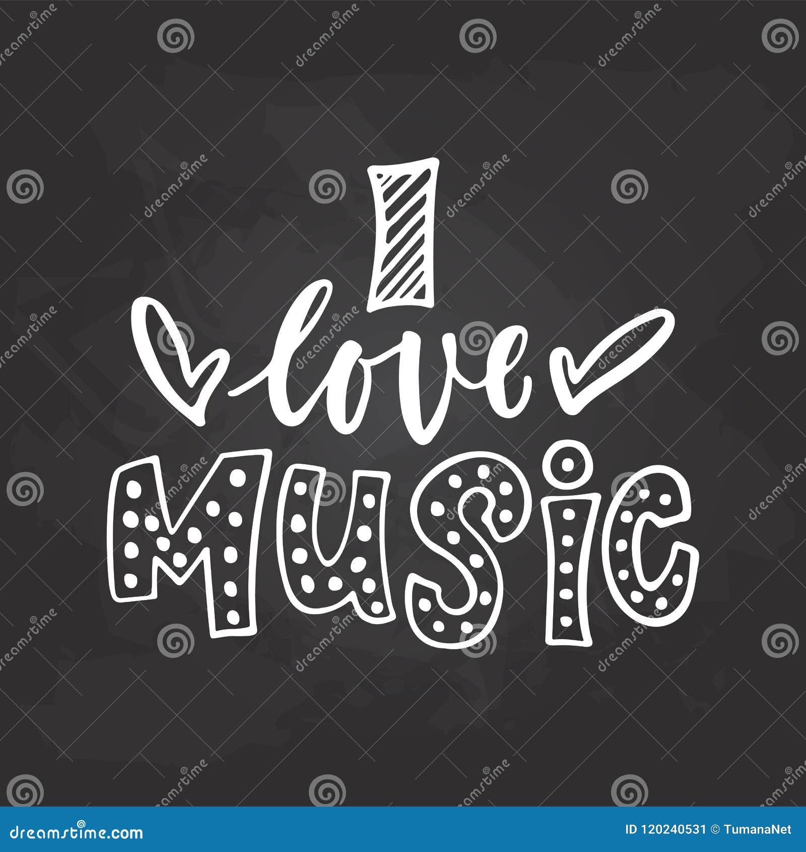 Amo La Música Frase Musical Dibujada Mano De Las Letras