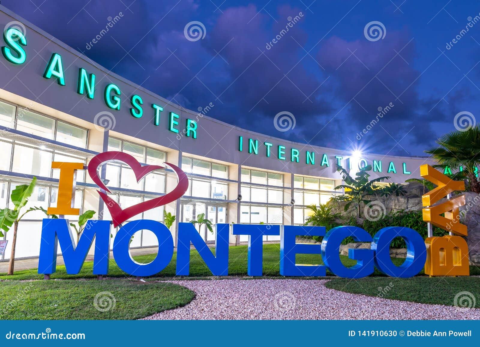 Amo la muestra de Montego Bay del coraz?n de Montego Bay/I en el aeropuerto internacional de Sangster