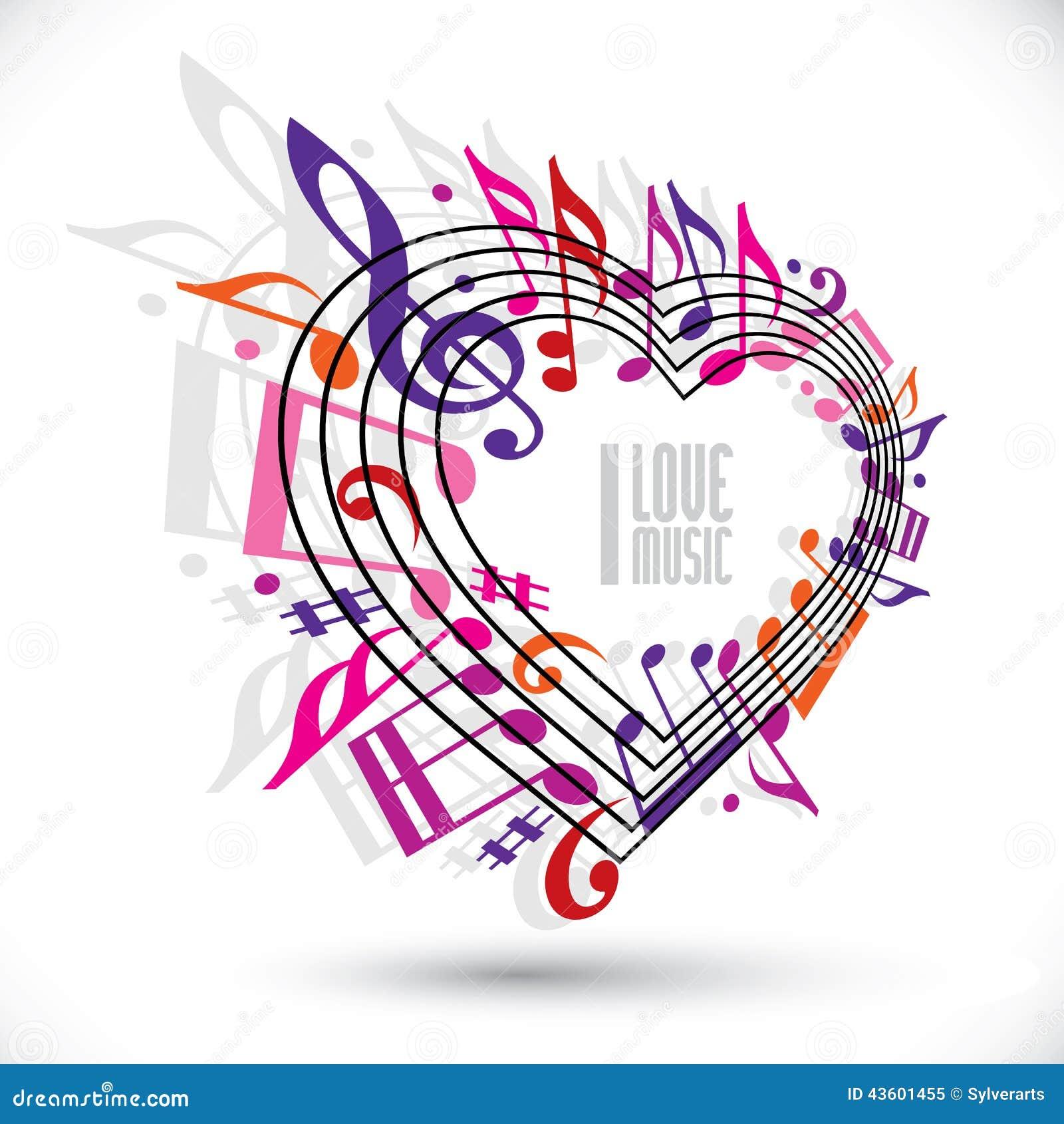Amo La Plantilla De La Música En Colores Rosados Y Violetas Rojos ...