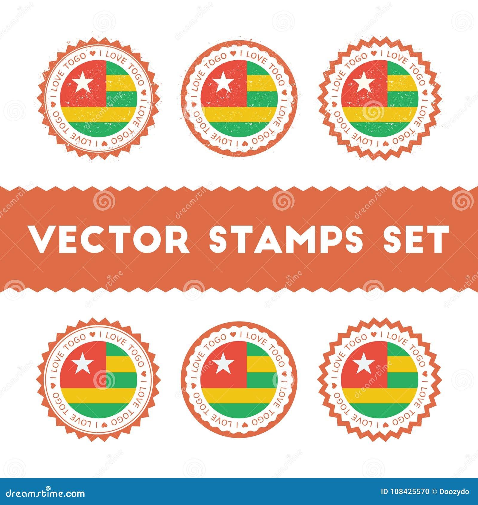 Amo Los Sellos Del Vector De Togo Fijados Ilustración del Vector ...