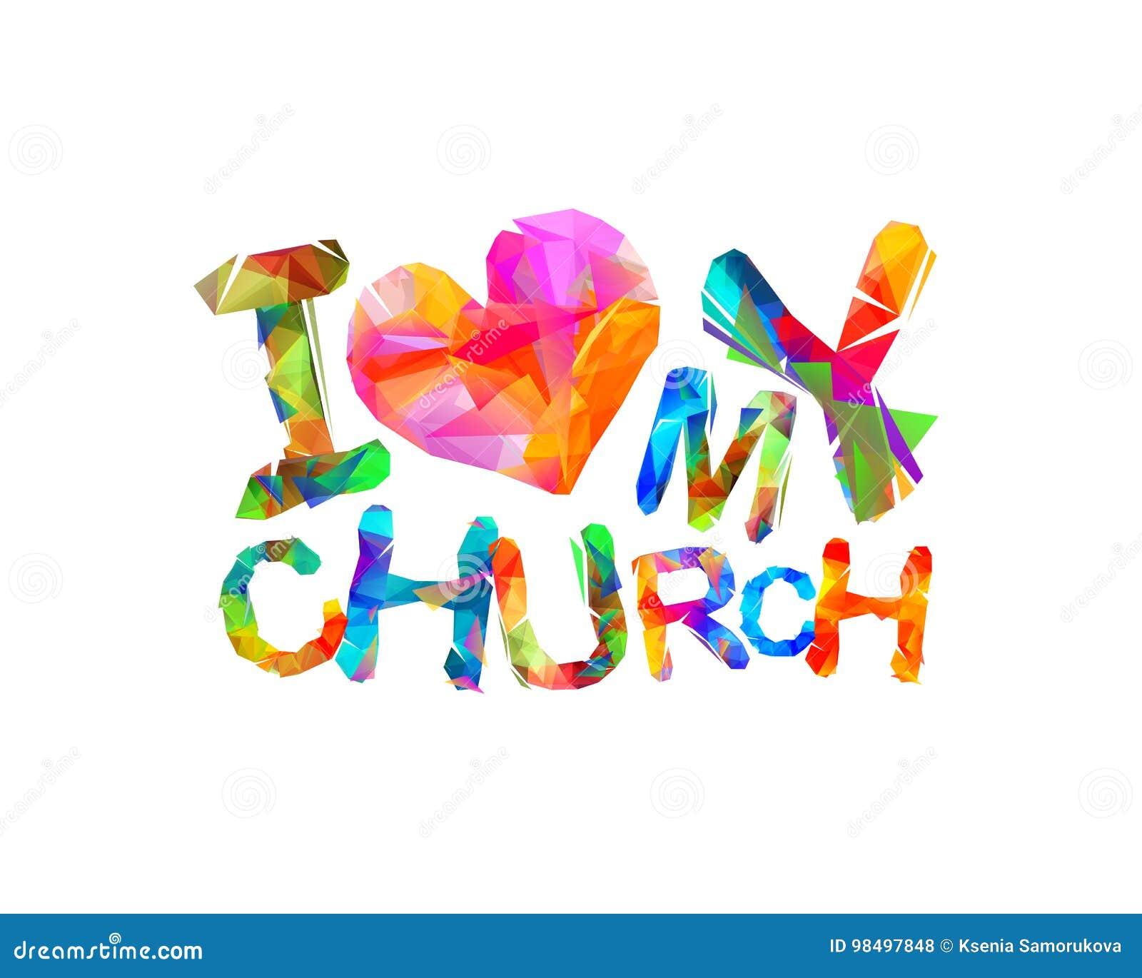 Amo mi iglesia Inscripción del vector