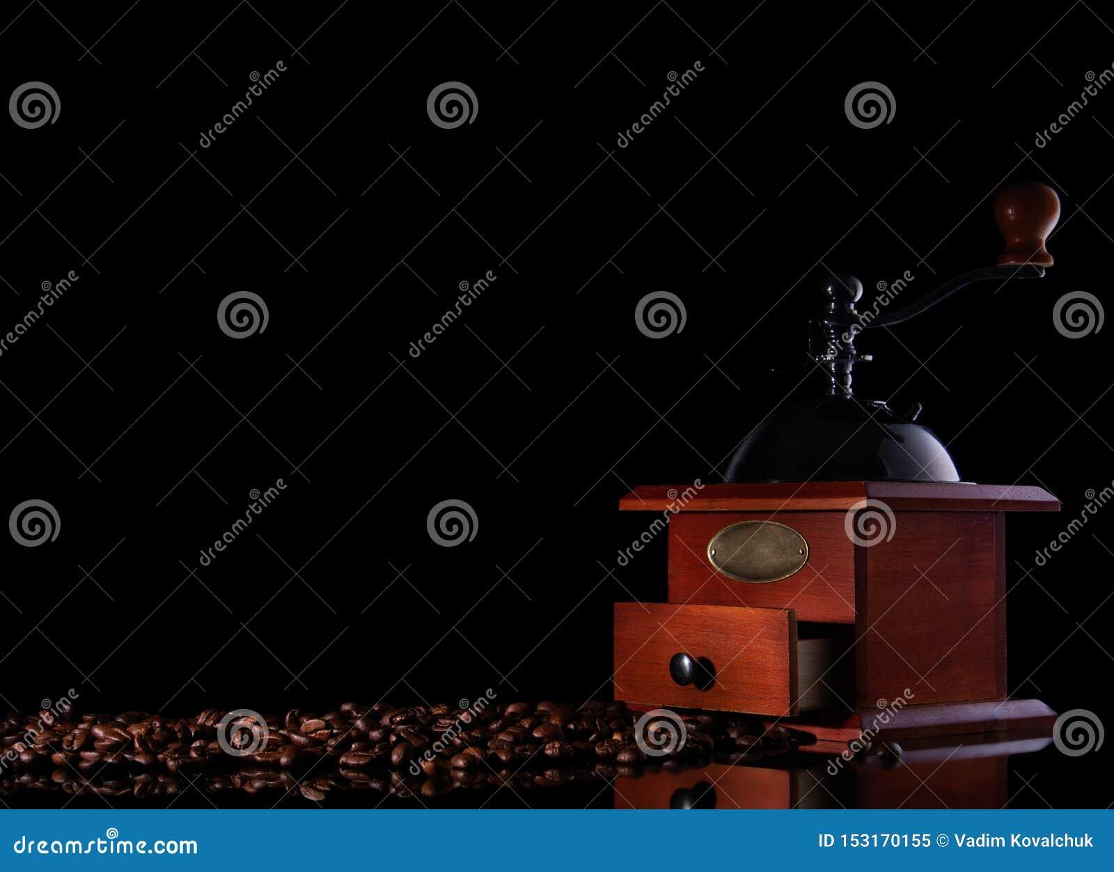 Amoladora de café manual del vintage de la visión superior