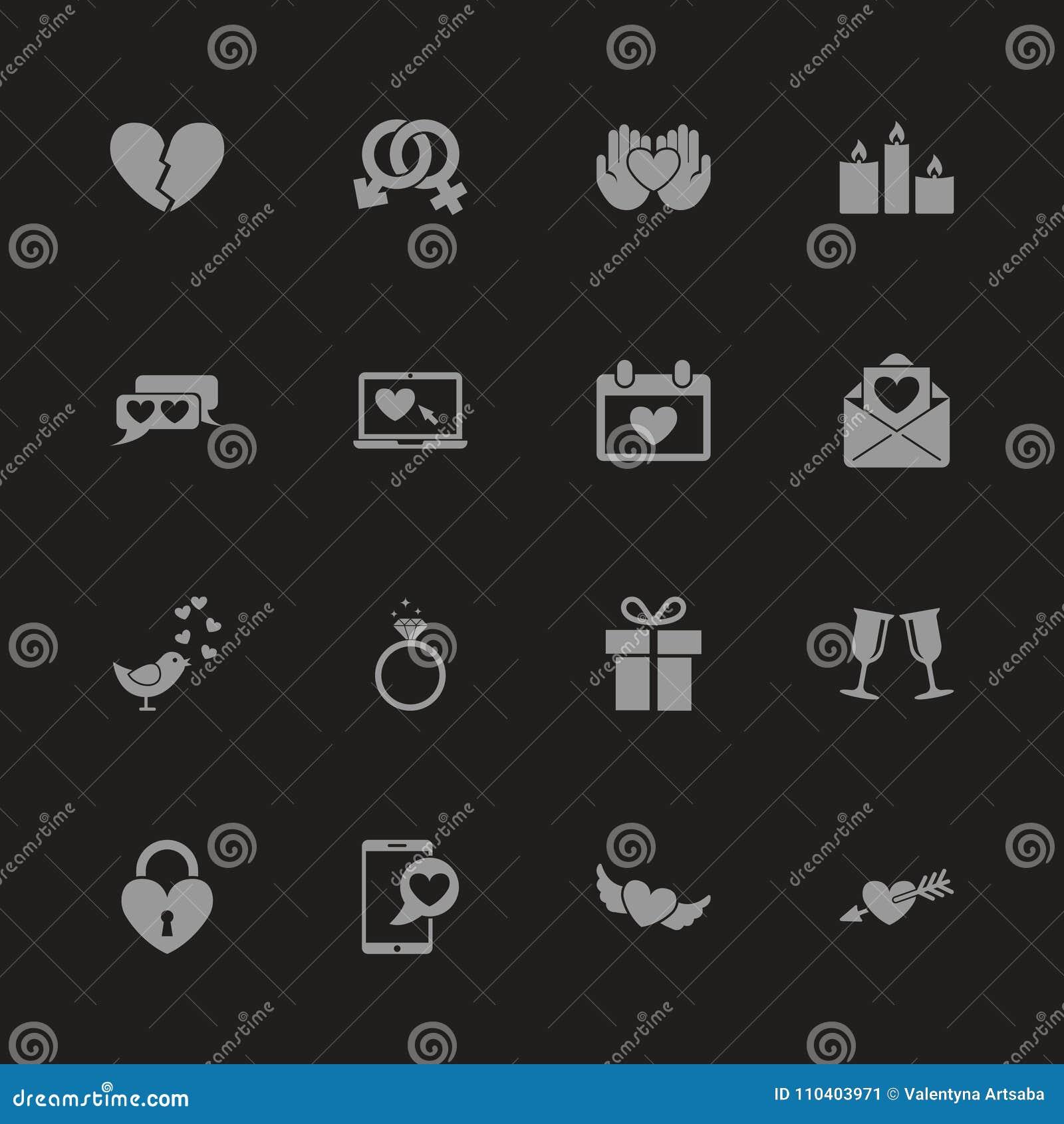 Amor - ícones lisos do vetor