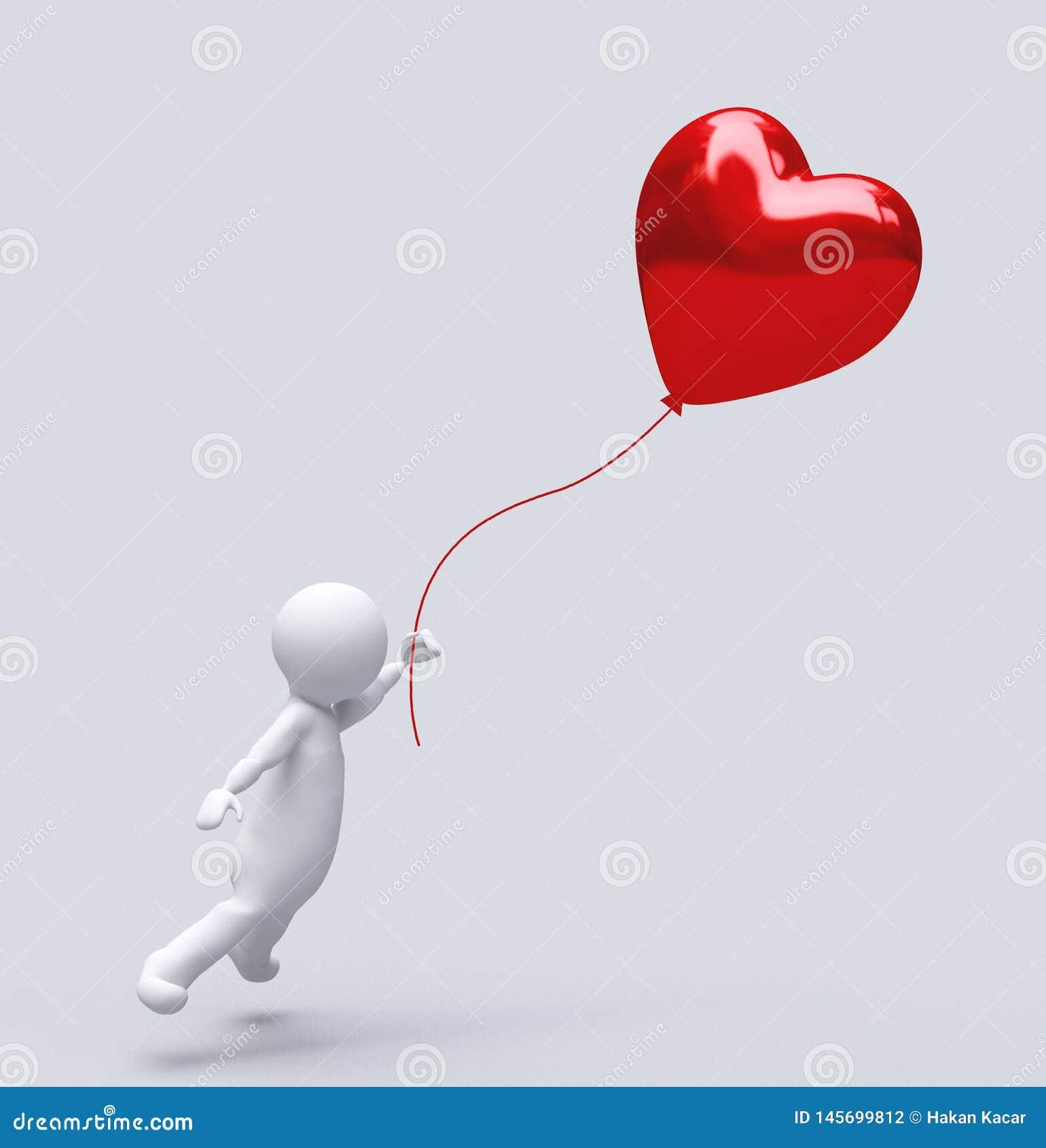 Amor Baloon aislado en blanco, coraz?n del impulso: concepto rojo del amor de la tarjeta del d?a de San Valent?n, d?a de San Vale