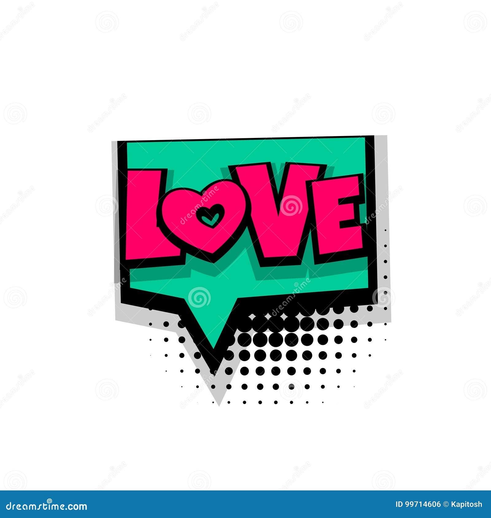 Amor Comico Del Arte Pop De La Frase Del Texto Ilustracion Del