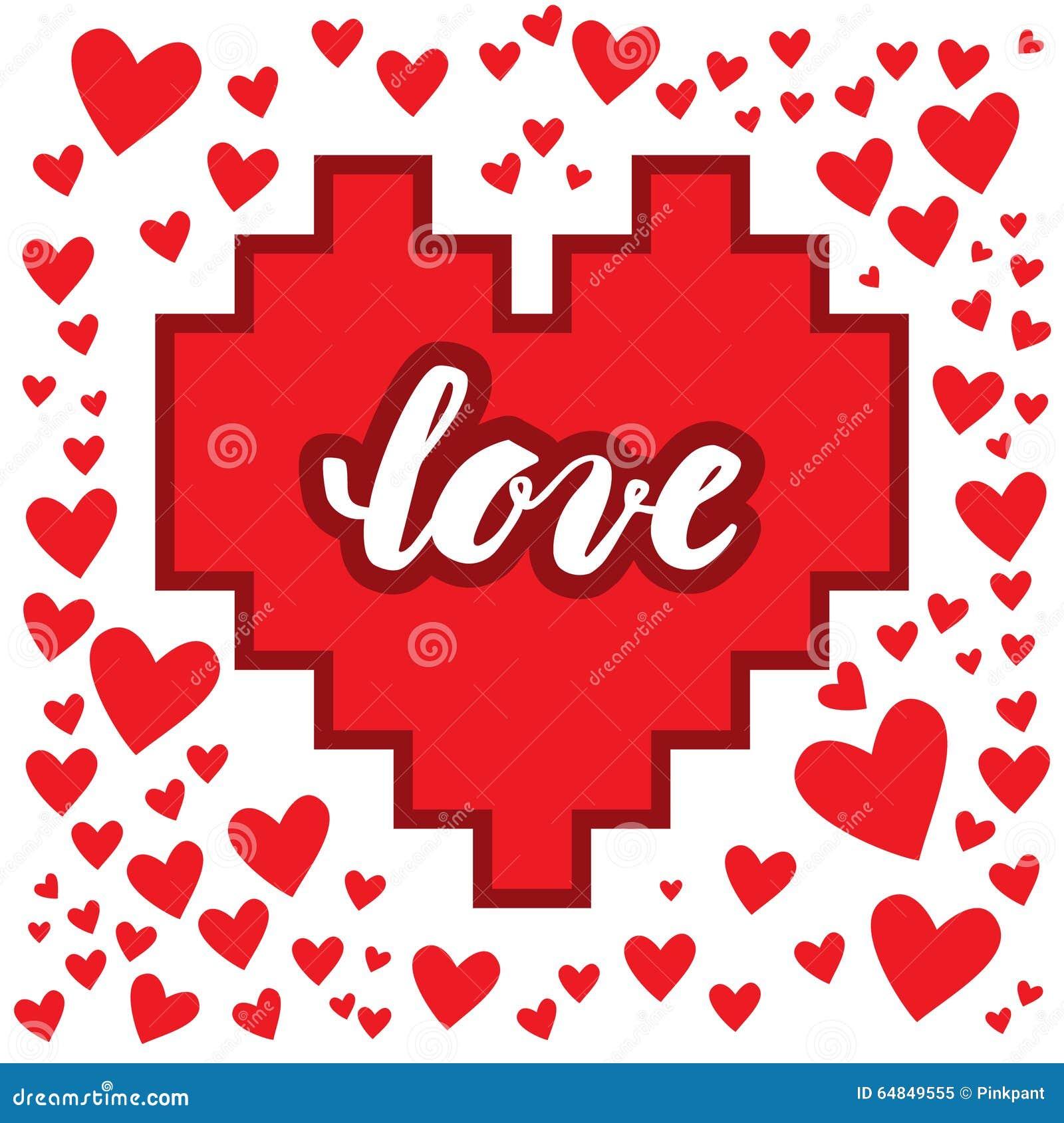 Amor Caligrafia De La Mano Frase Romantica En El Corazon Tarjeta De