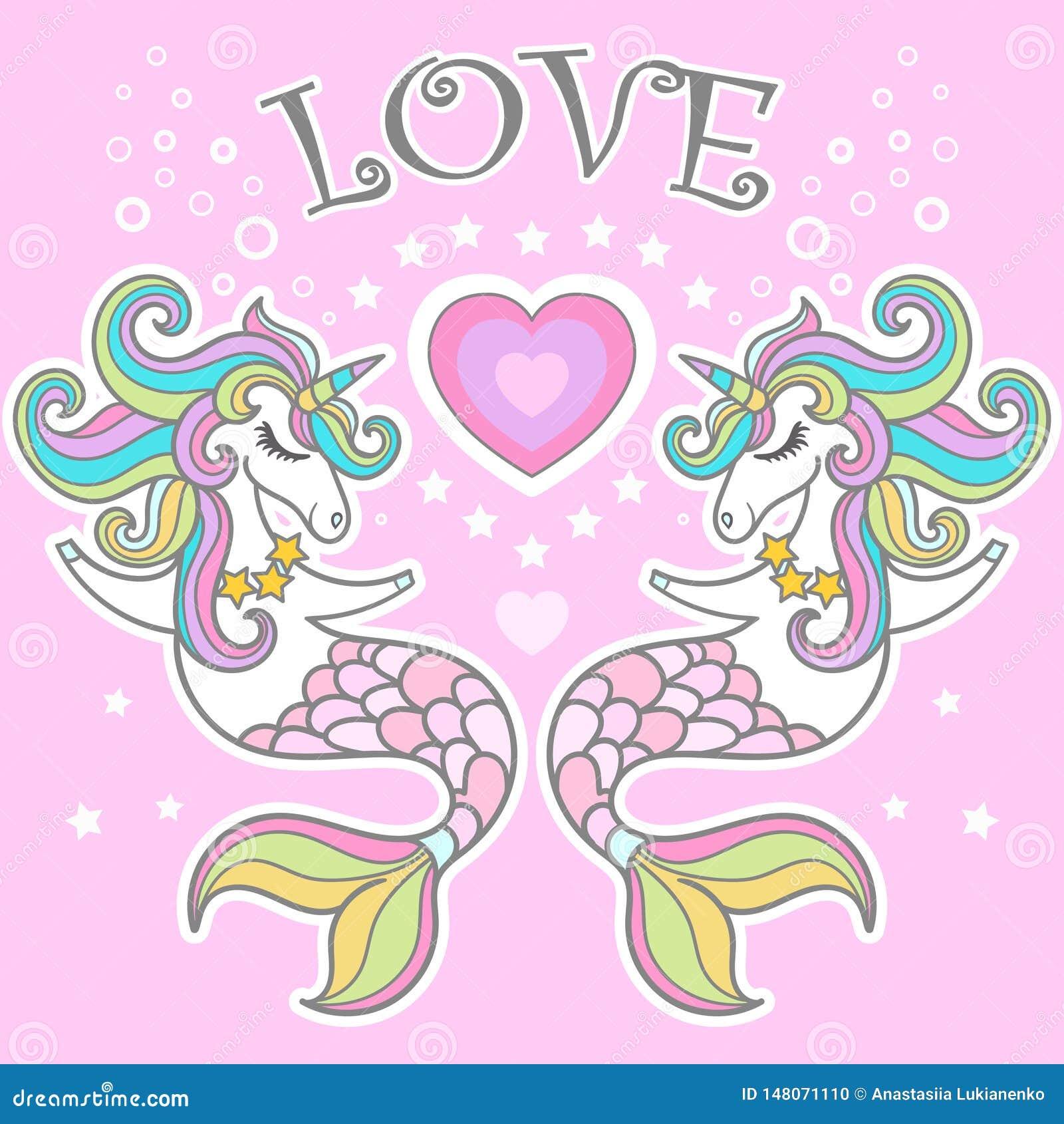 Amor Cavalo marinho do unicórnio com ilustração do vetor do coração Vetor